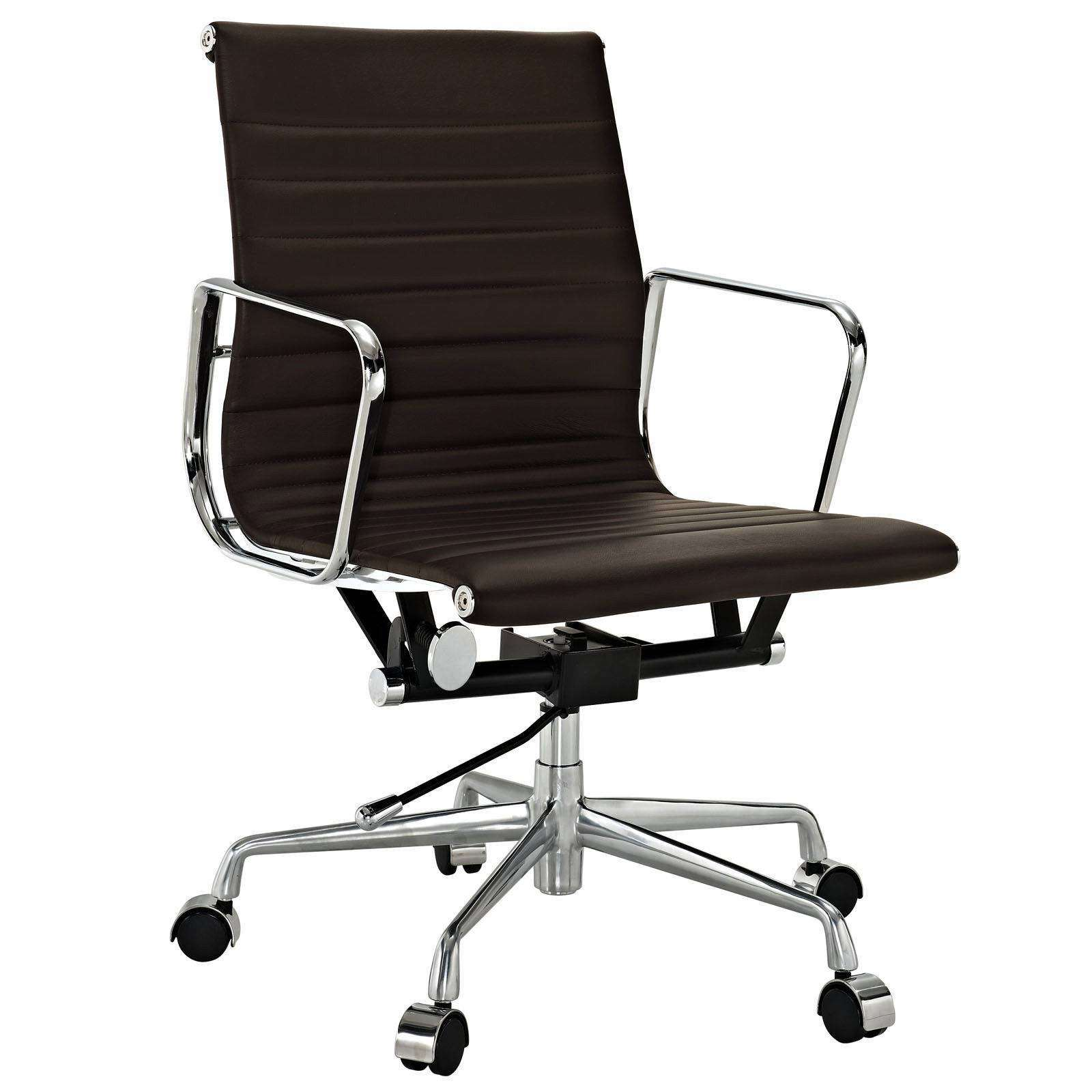 Ribbed Mid Back Office Chair - Aluminum Management Style Office