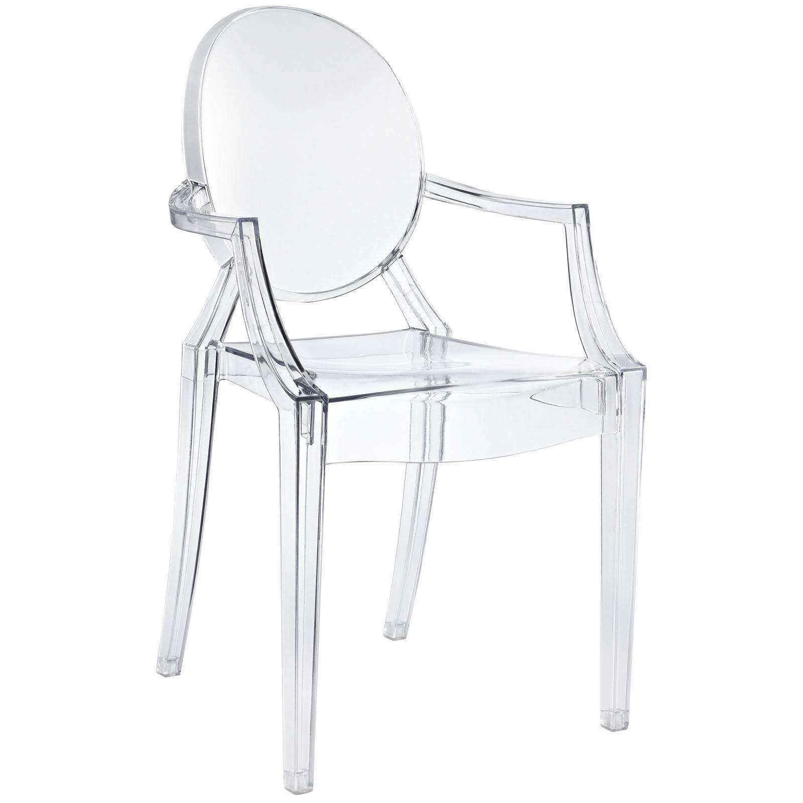 Philippe starck style louis ghost arm chair for Chaise louis ghost kartell