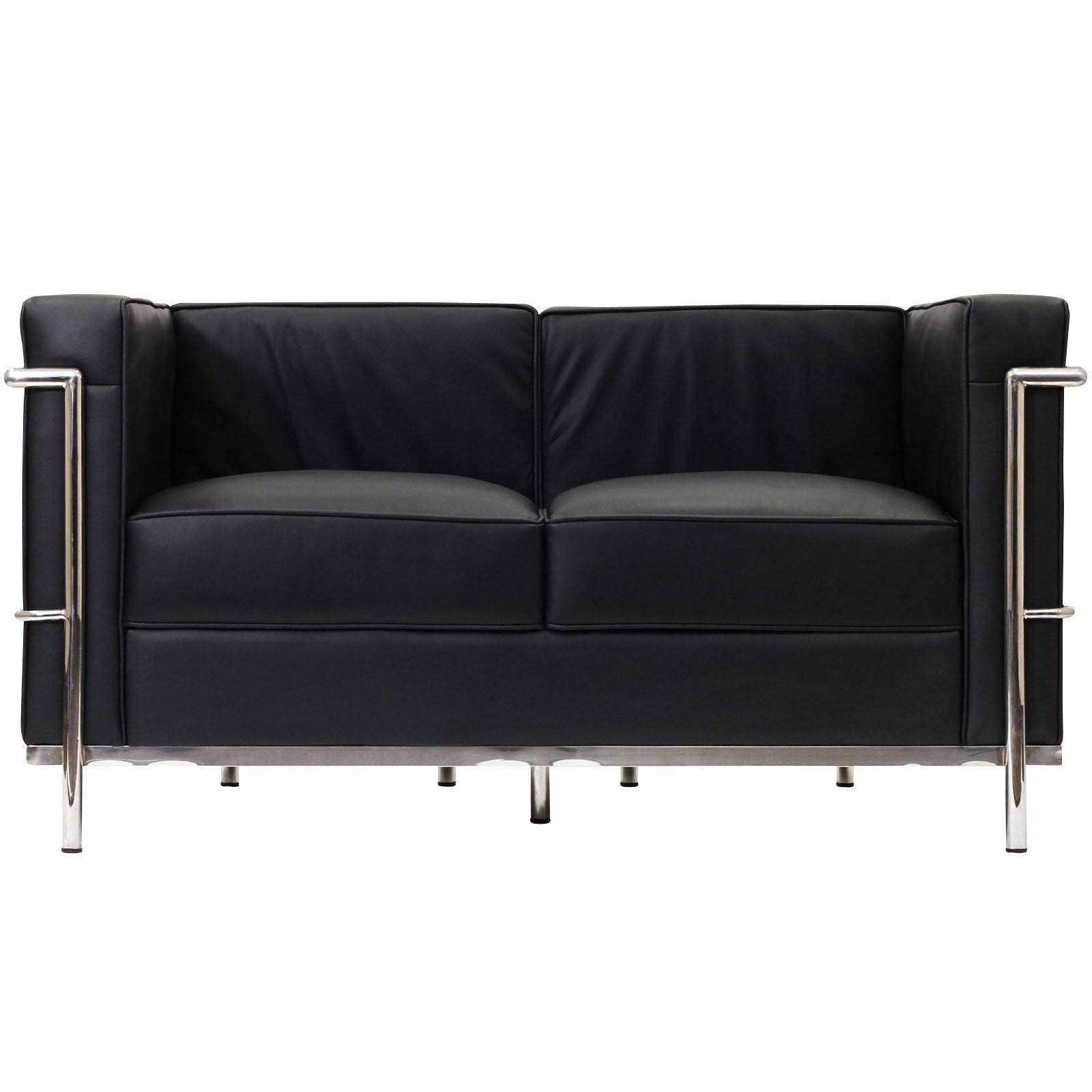 le corbusier style lc2 loveseat couch black leather. Black Bedroom Furniture Sets. Home Design Ideas