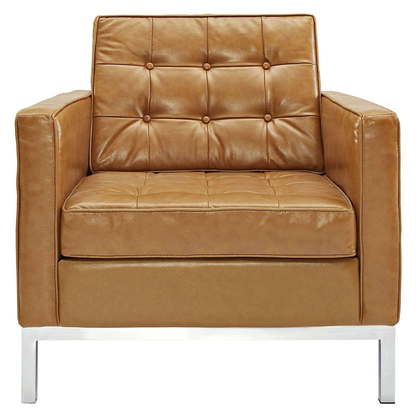 florence knoll style arm chair leather