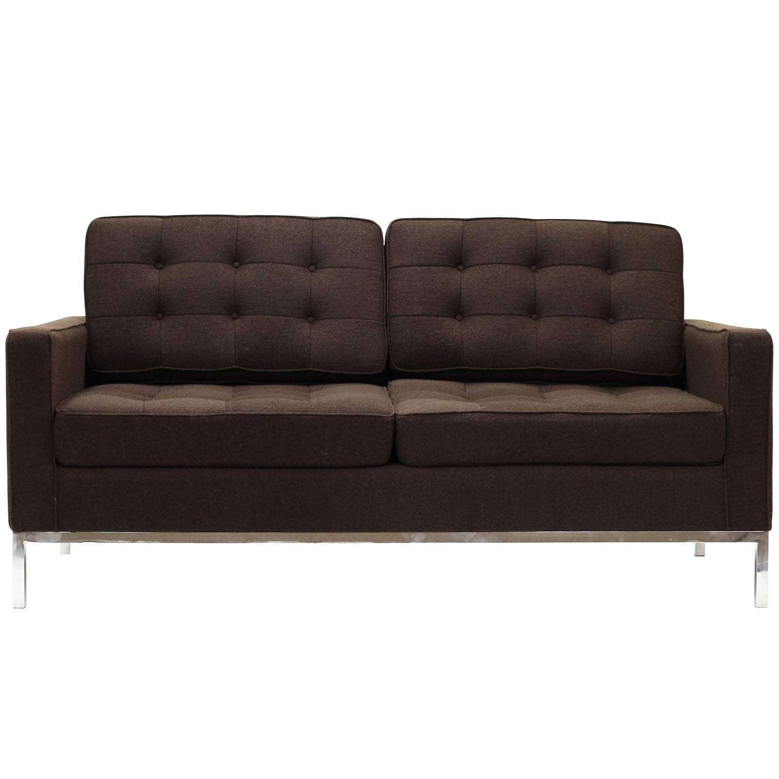 Florence Knoll Style Loveseat Couch Wool