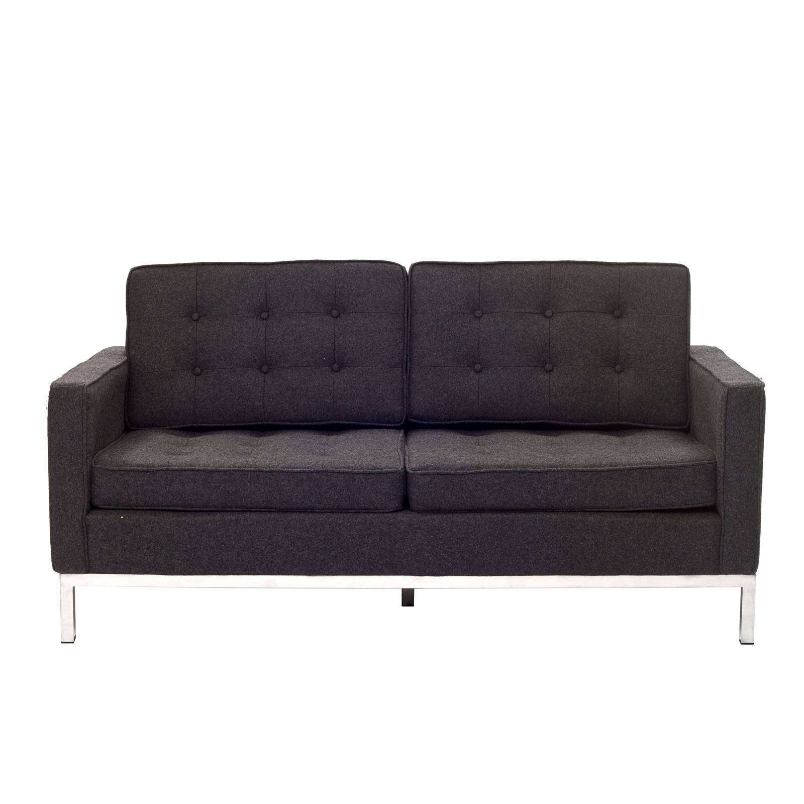 florence knoll style loveseat couch wool. Black Bedroom Furniture Sets. Home Design Ideas