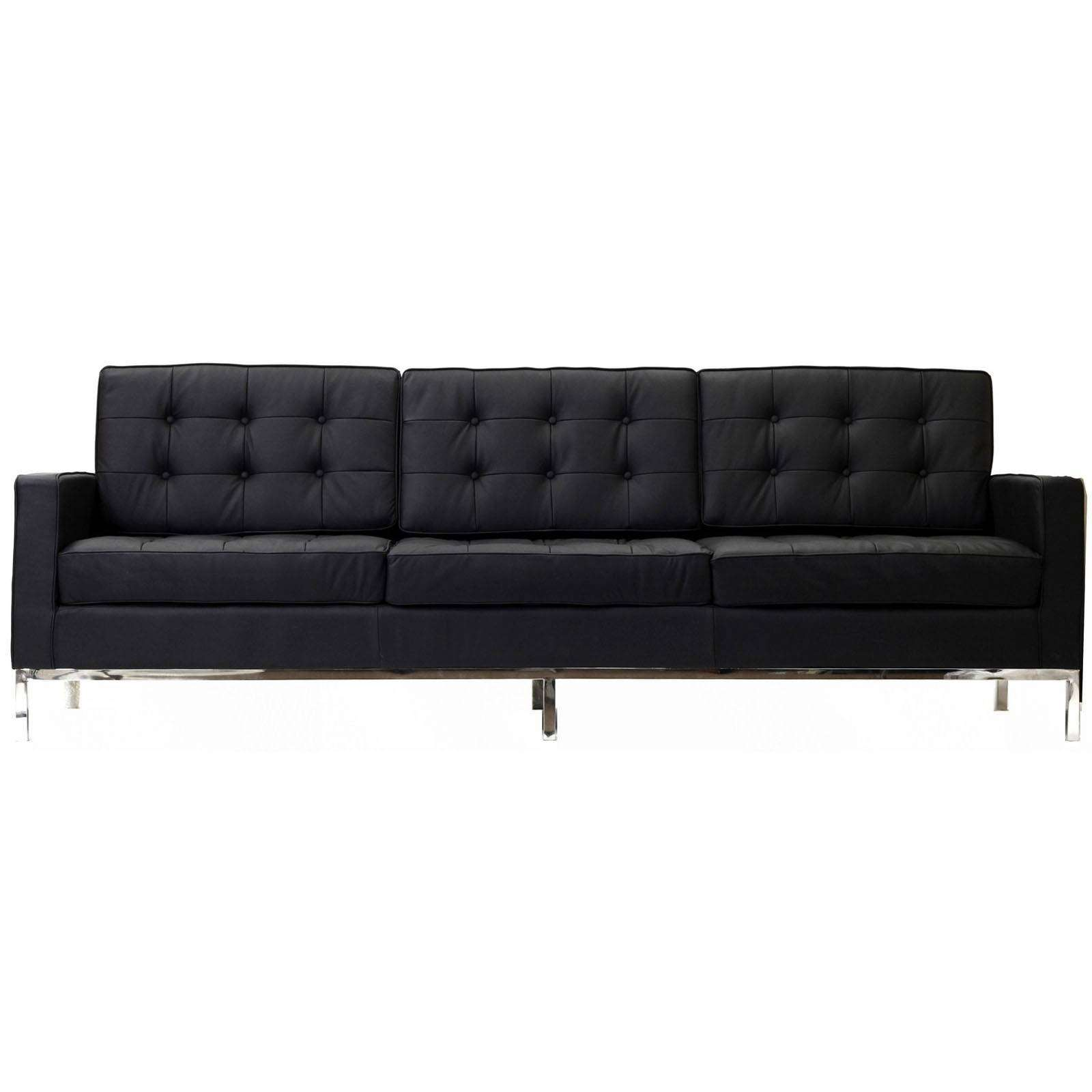 Florence knoll style sofa couch leather for Modern leather furniture