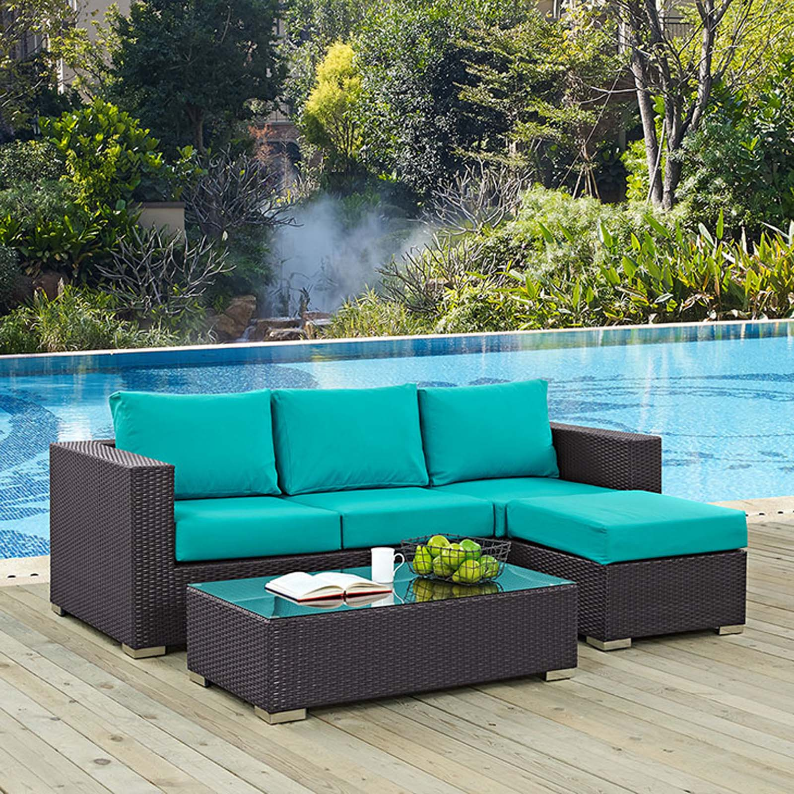 Modterior :: Outdoor :: Sectional Sets :: Convene 3 Piece ... on Outdoor Loveseat Sets id=34022