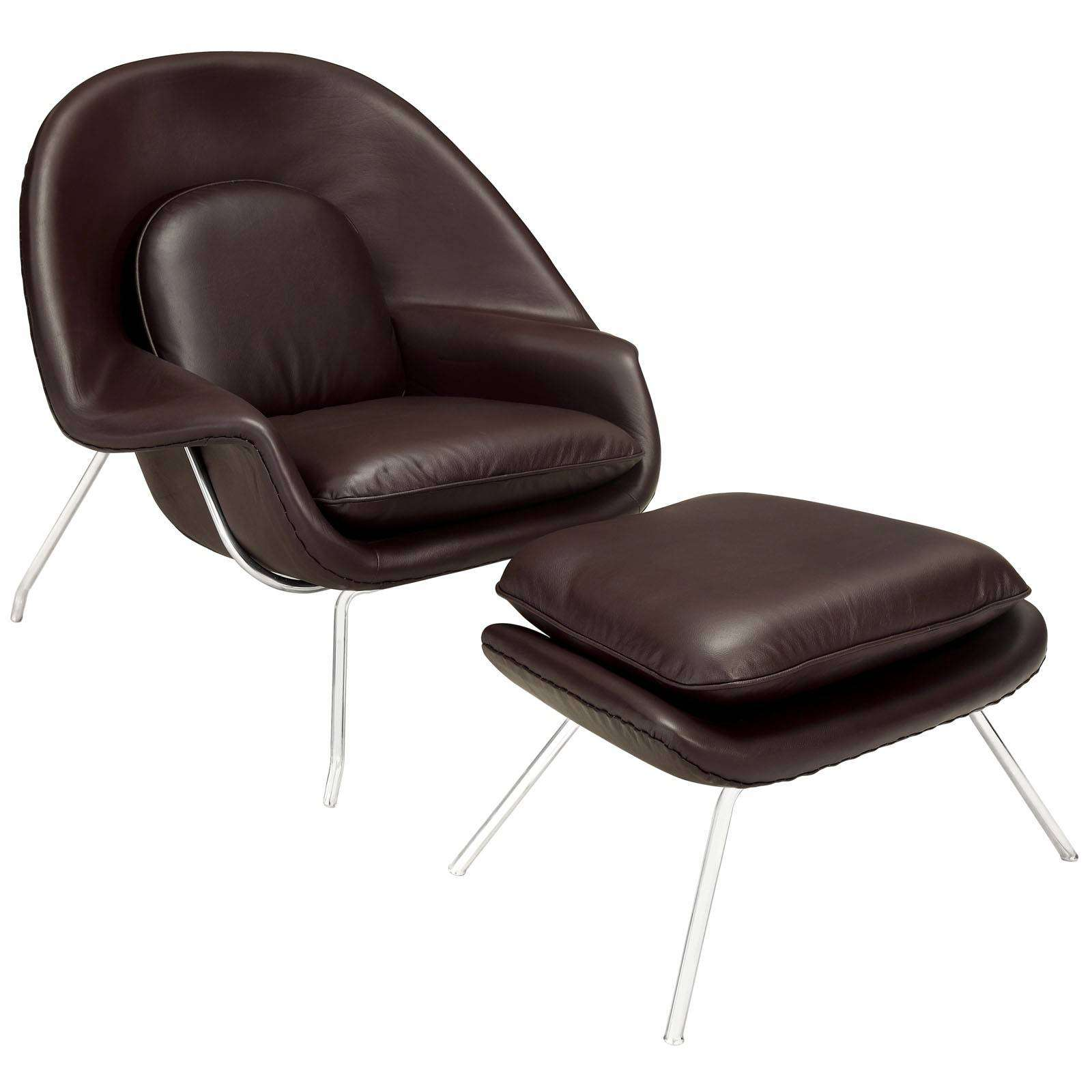 Eero Saarinen Womb Lounge Chair Ottoman Leather