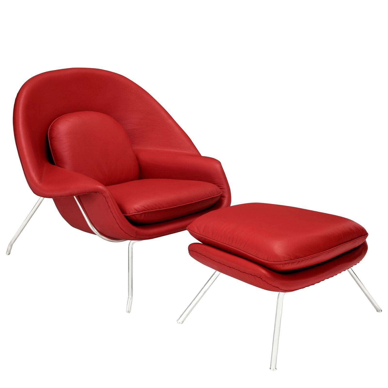 Eero Saarinen Womb Lounge Chair Ottoman Leather