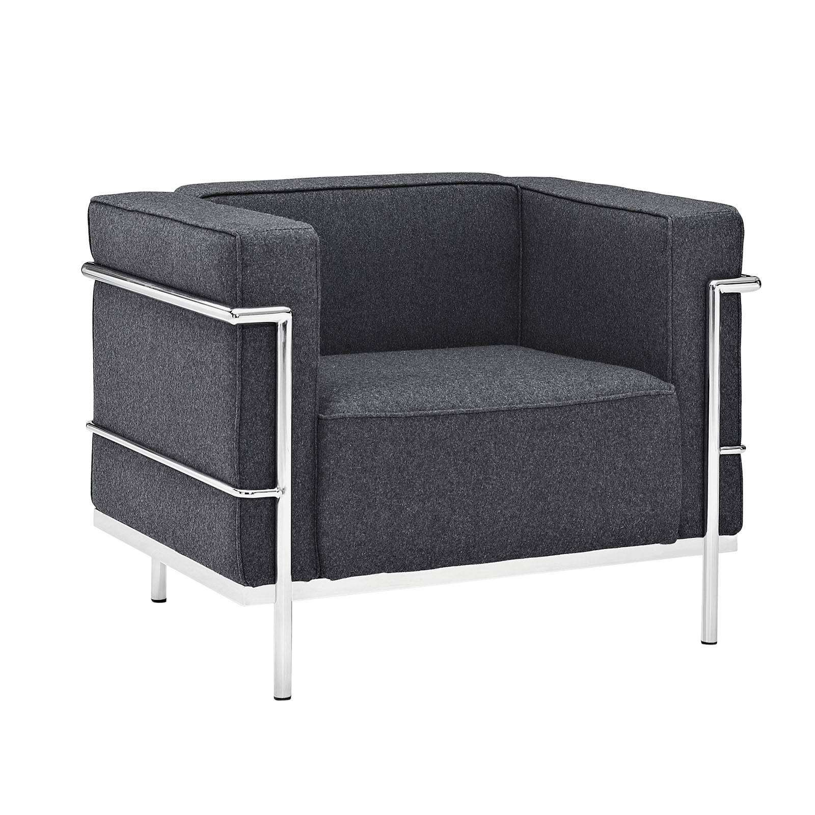 le corbusier style lc3 arm chair wool. Black Bedroom Furniture Sets. Home Design Ideas