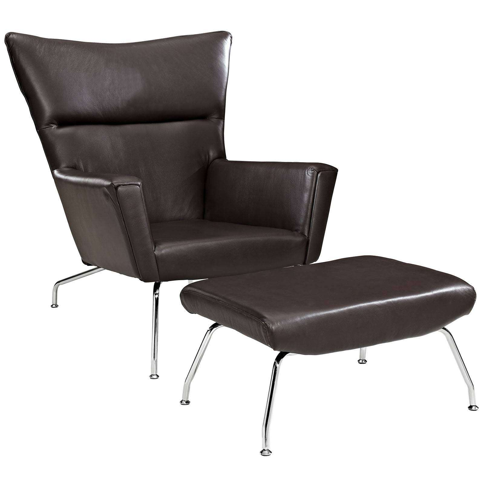 Wegner Ch445 Wing Lounge Chair Leather