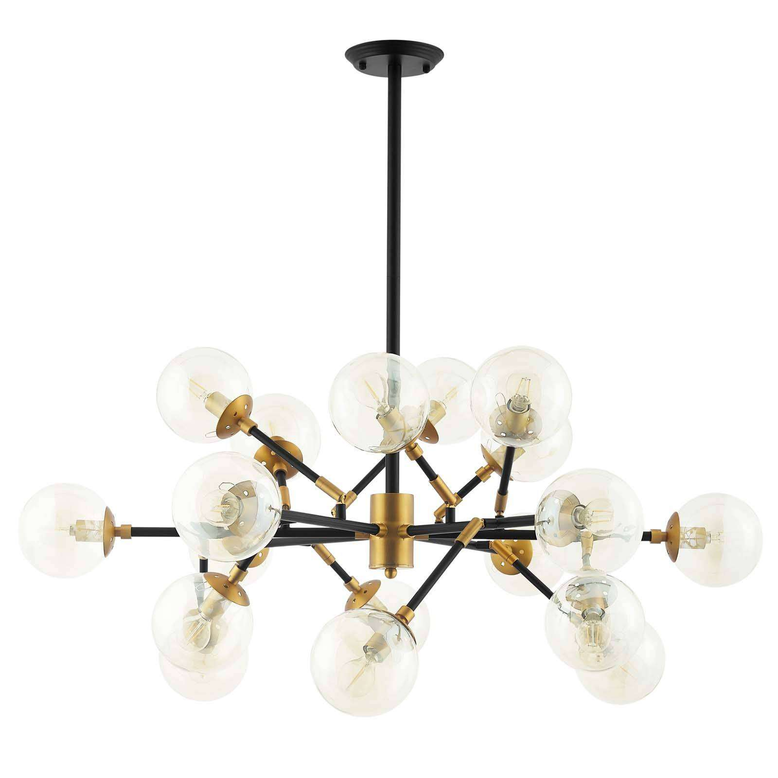Modterior Lighting Chandeliers Sparkle Amber Glass And Antique Brass 18 Light Mid Century Chandelier