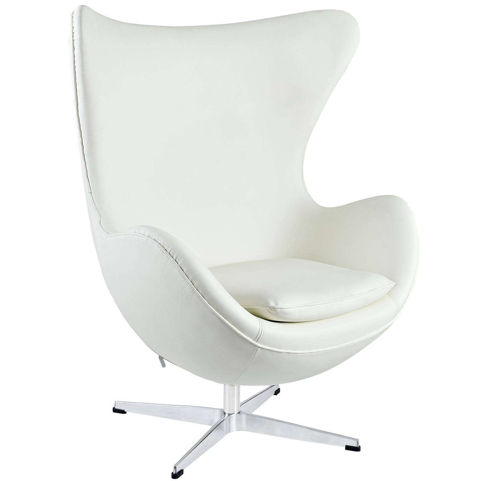Black leather wing chair - Arne Jacobson Style Egg Chair Leather
