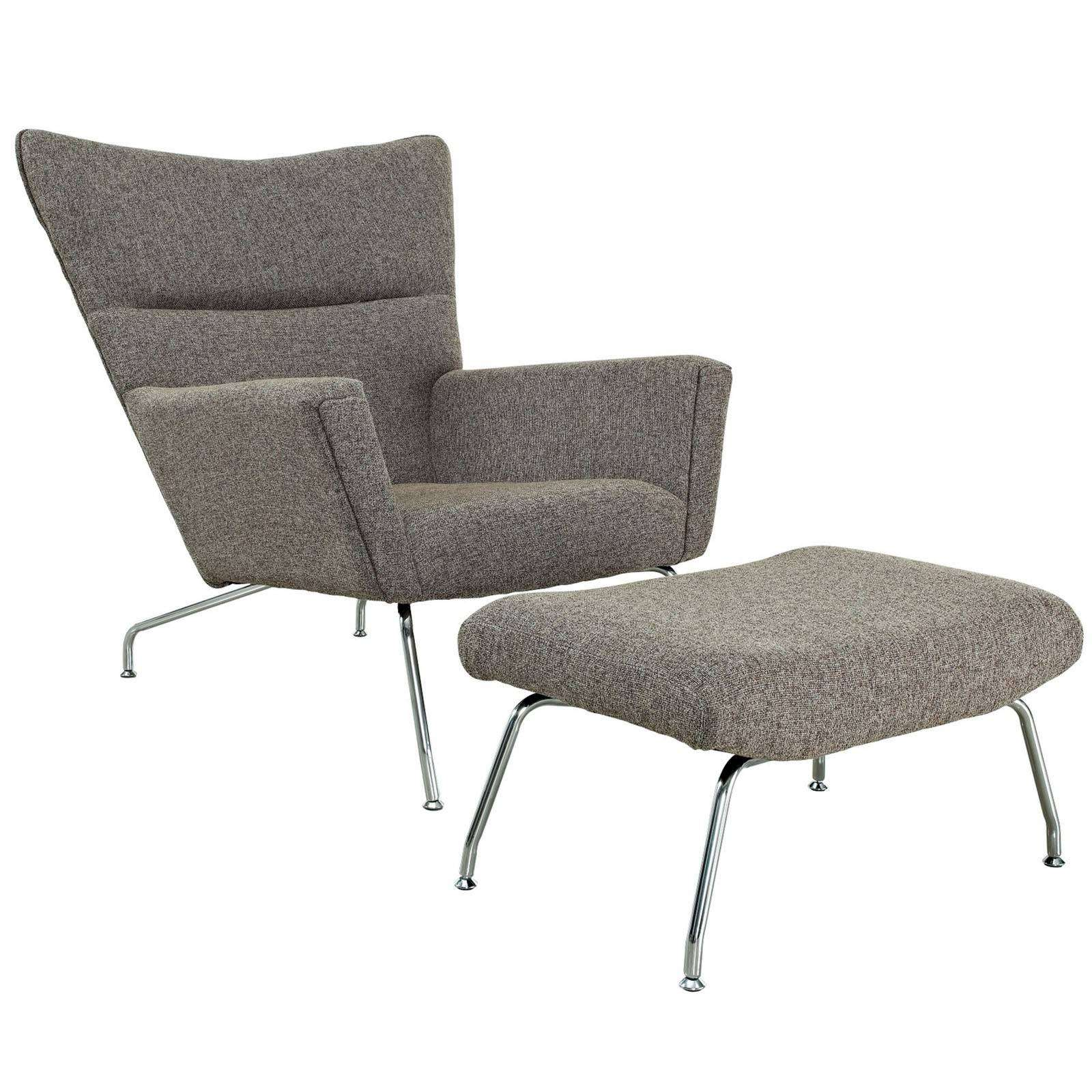 Hans wegner ch445 wing lounge chair wool - Wegner wing chair replica ...