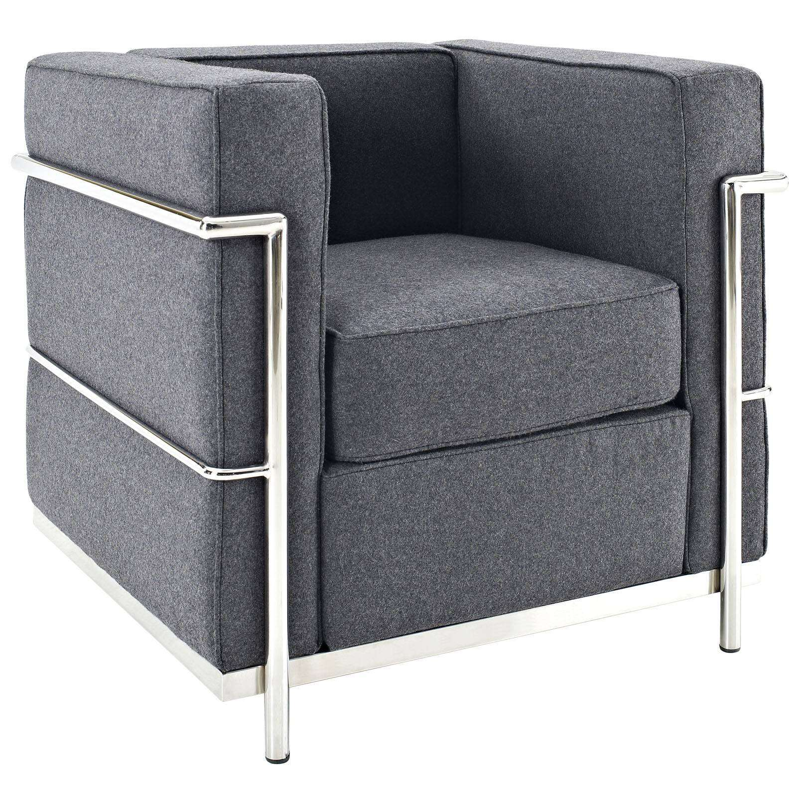 le corbusier style lc2 arm chair wool. Black Bedroom Furniture Sets. Home Design Ideas