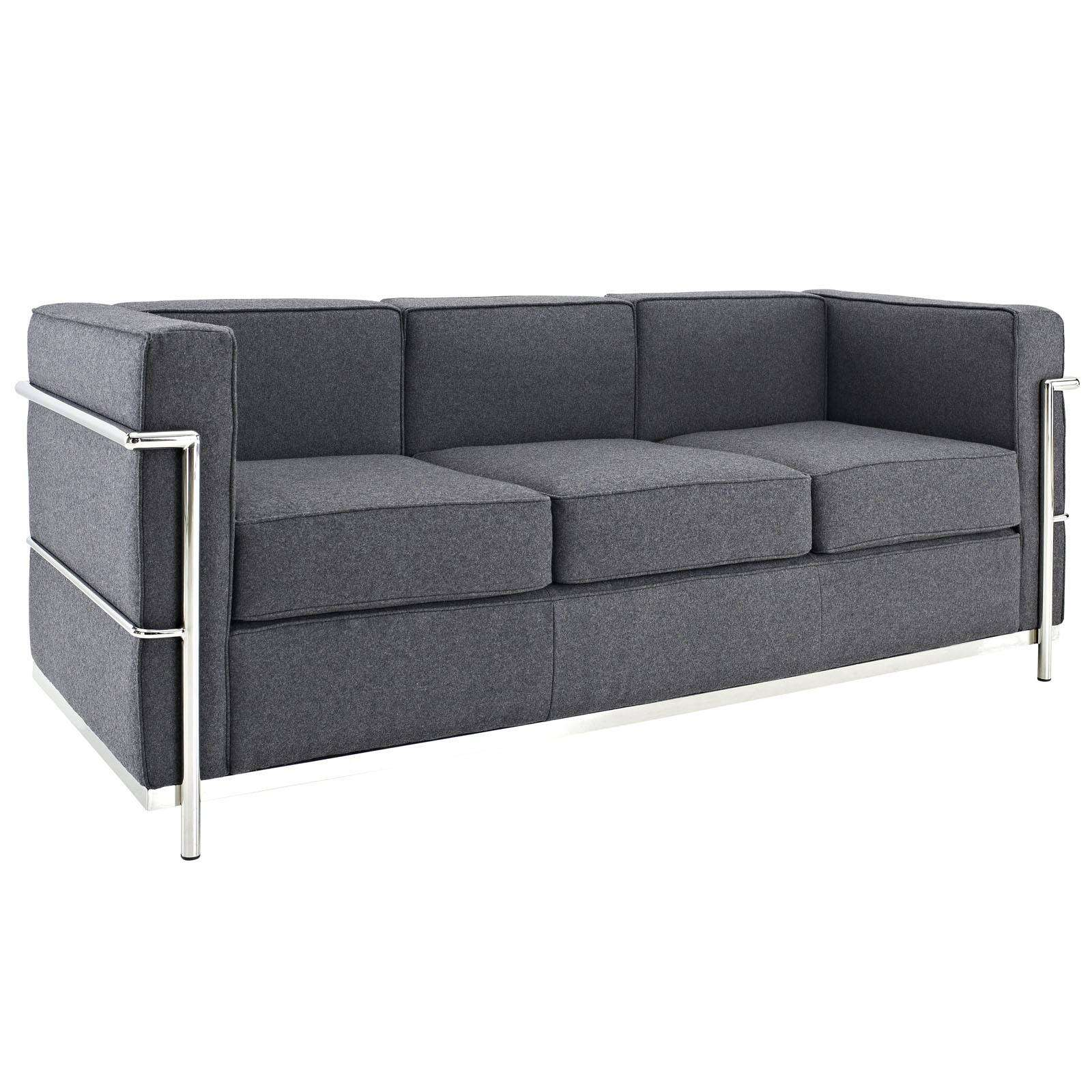 le corbusier style lc2 sofa couch wool. Black Bedroom Furniture Sets. Home Design Ideas