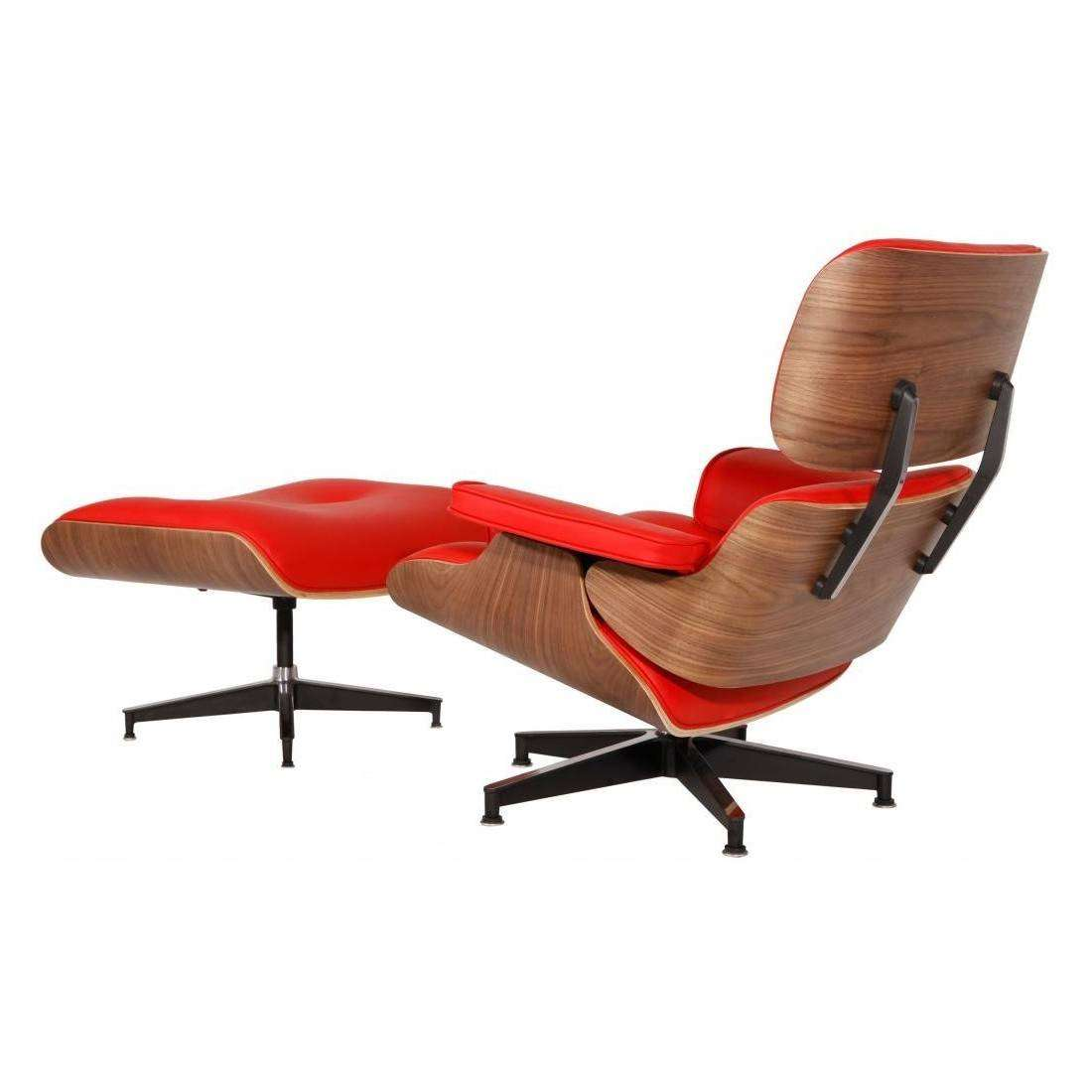mod lounge chair ottoman red walnut
