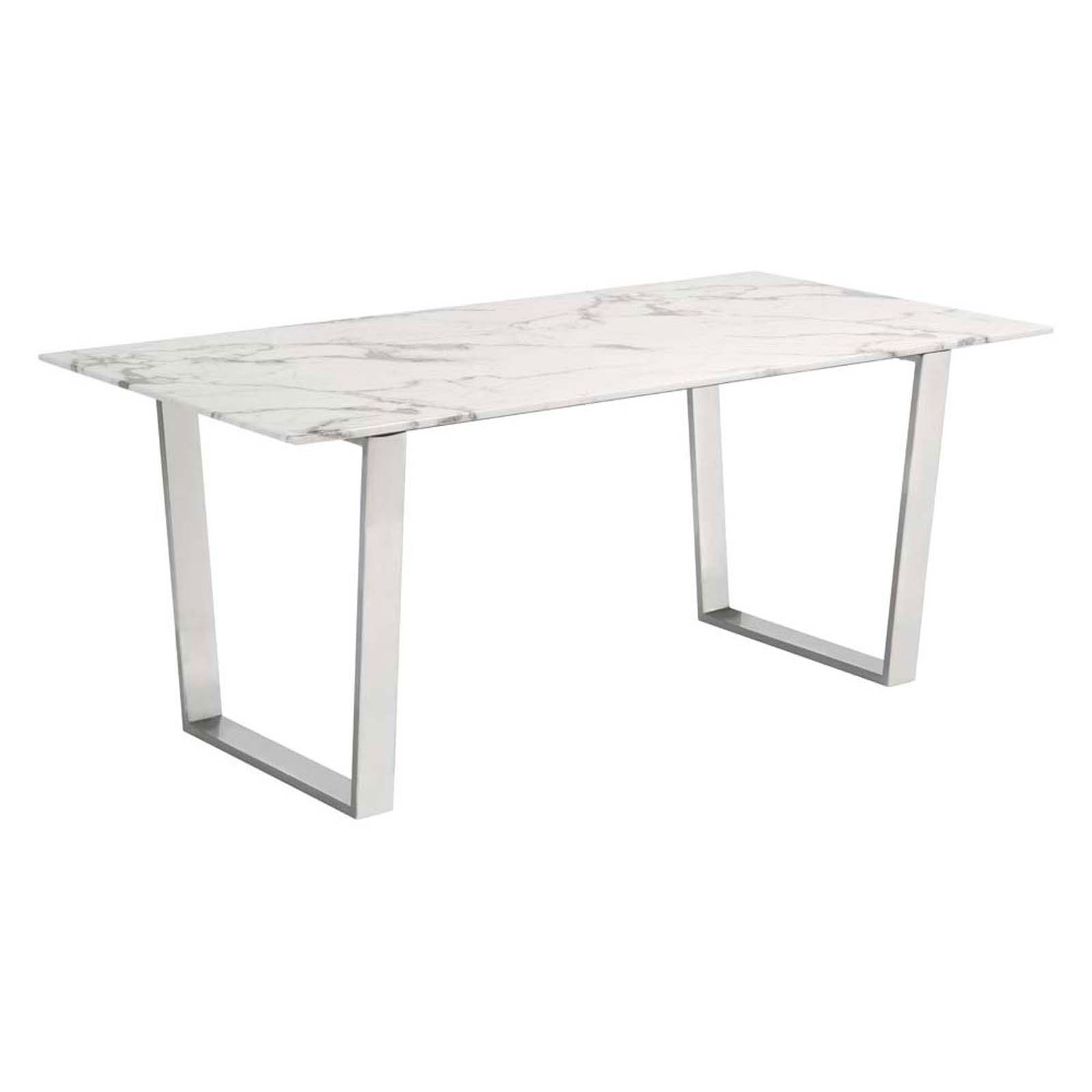 Atlas Dining Table Stone & Brushed Stainless Steel