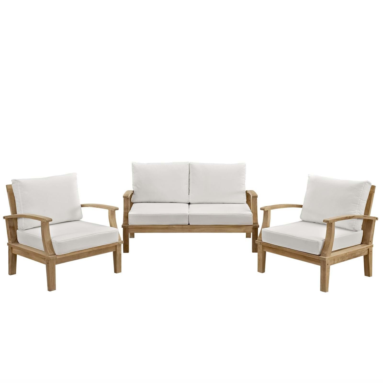 Marina 3 Piece Outdoor Patio Teak Sofa Set
