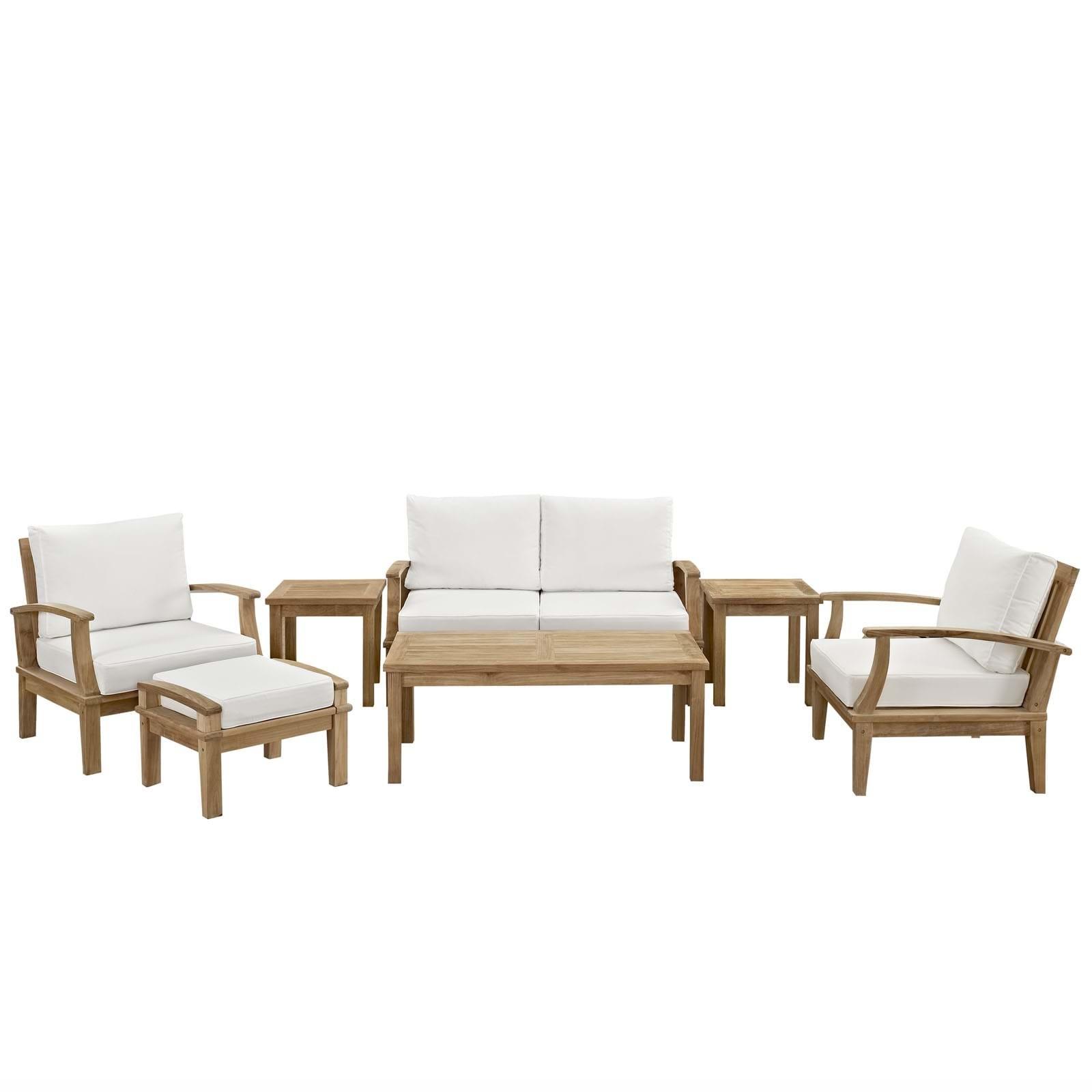 Marina 7 Piece Outdoor Patio Teak Sofa Set