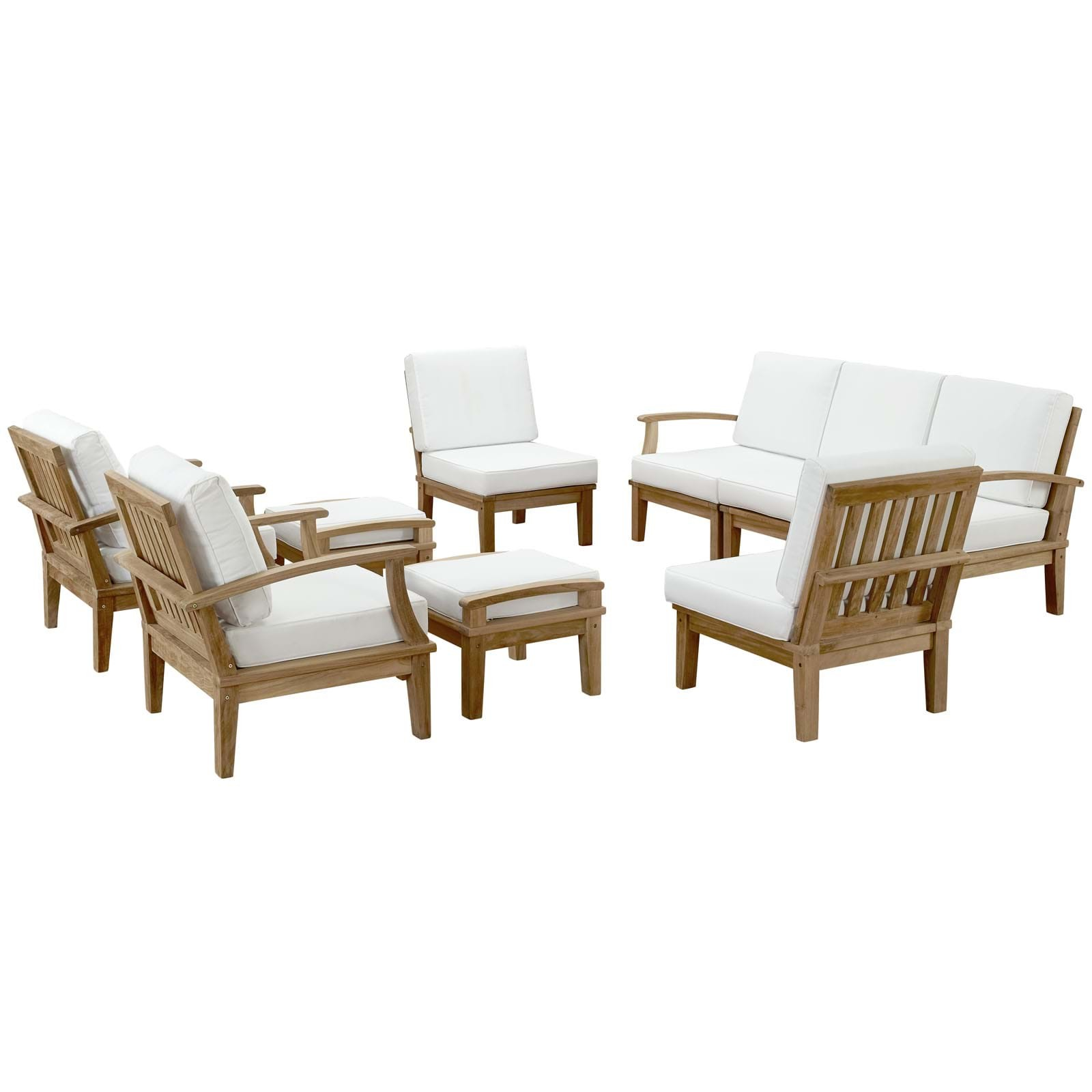 Marina 9 Piece Outdoor Patio Teak Sofa Set