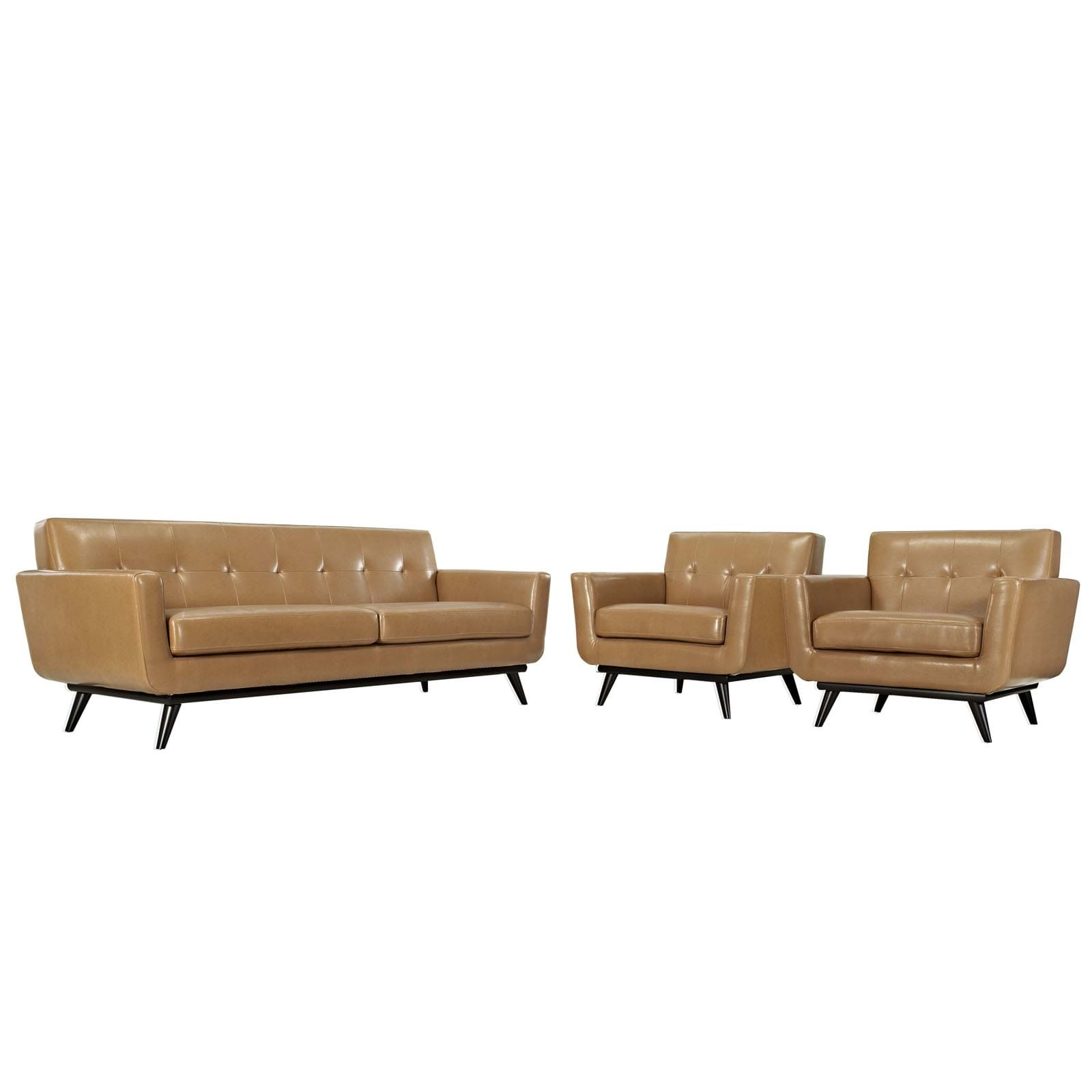 Engage Leather Living Room Set - 3 Piece in Tan