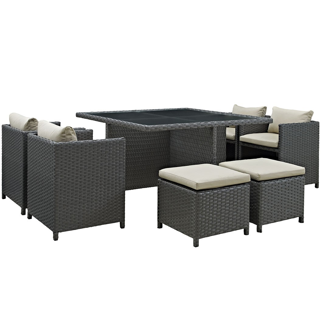 Sojourn 9 Piece Outdoor Patio Sunbrella Dining Set