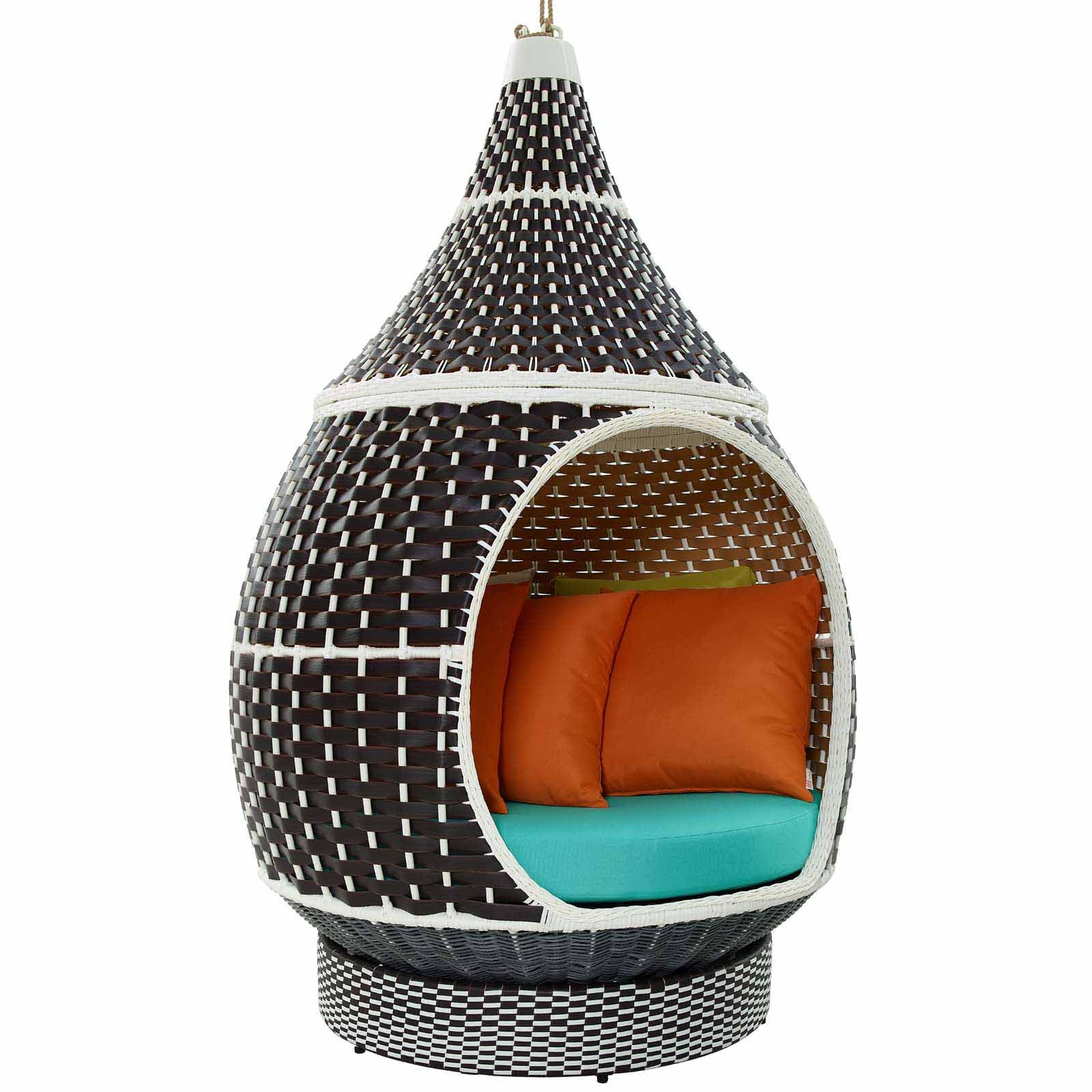 Palace Outdoor Patio Wicker Rattan Hanging Pod in Brown Turquoise