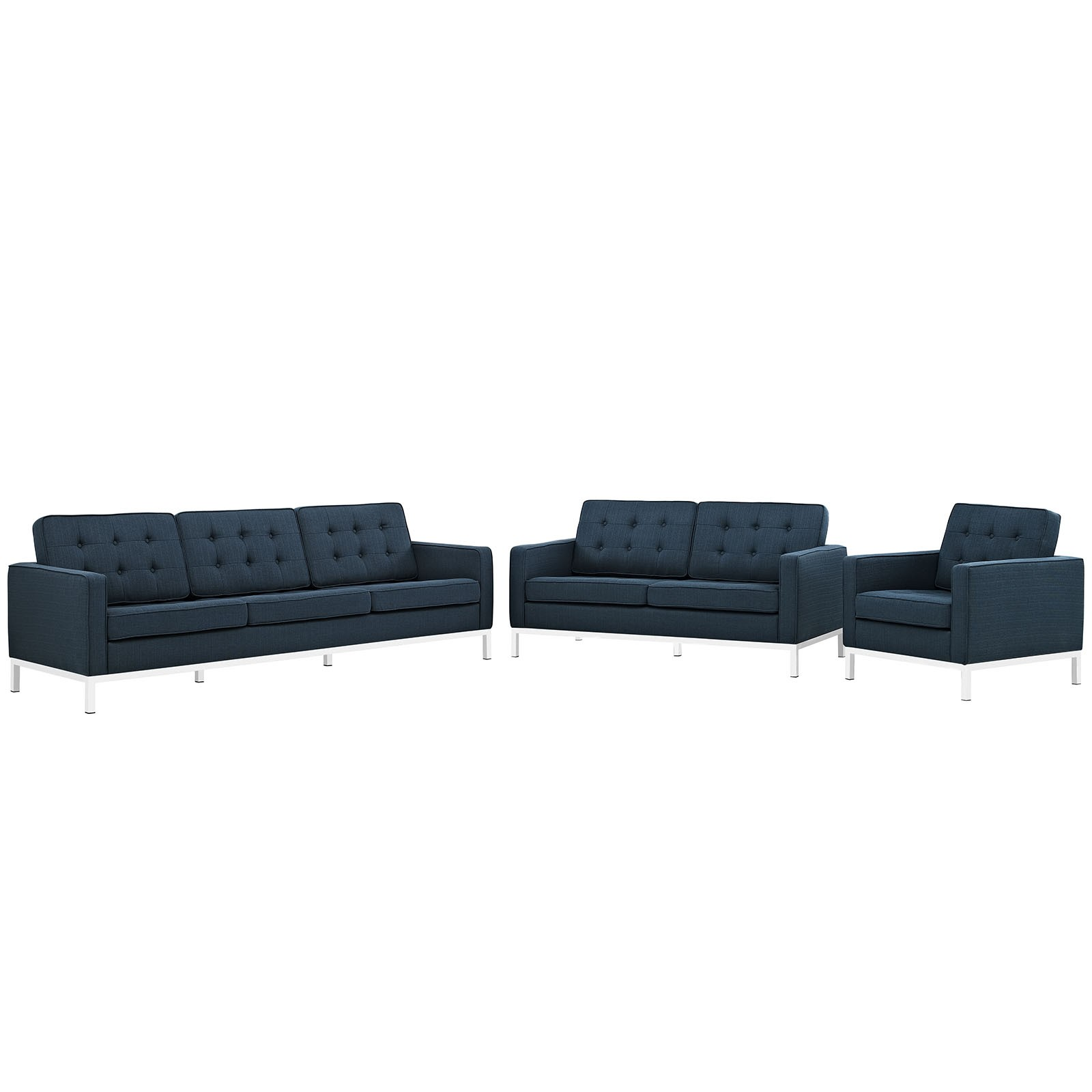Loft 3 Piece Fabric Living Room Set