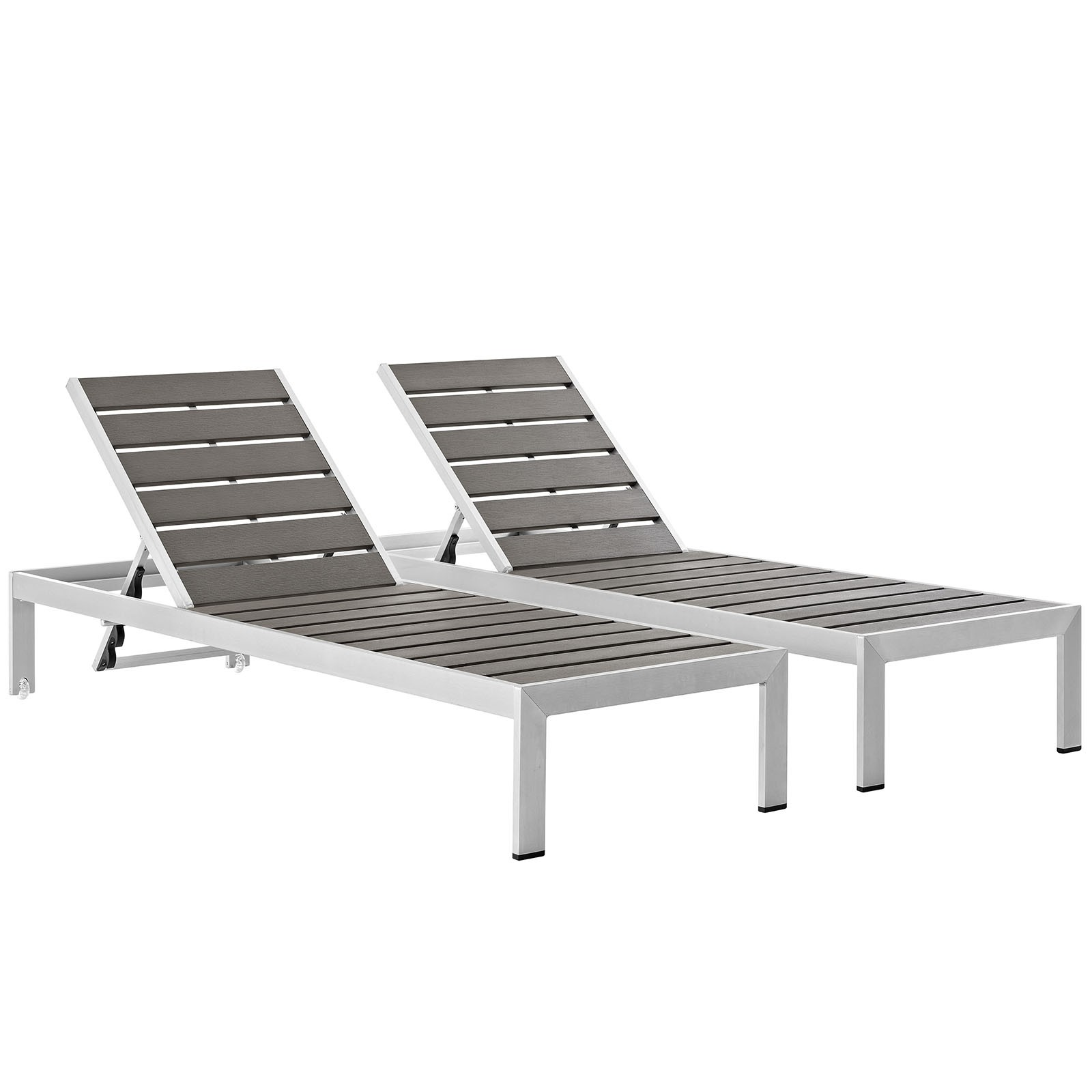 Shore Outdoor Patio Chaise Outdoor Patio Aluminum Set of 2