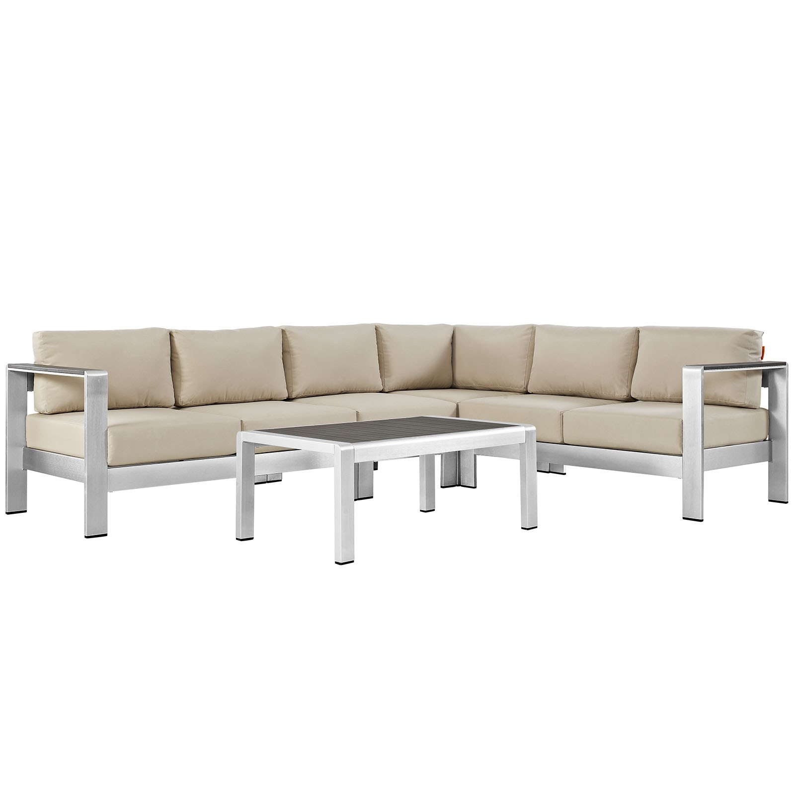 Shore 5 Piece Outdoor Patio Aluminum Sectional Sofa Set