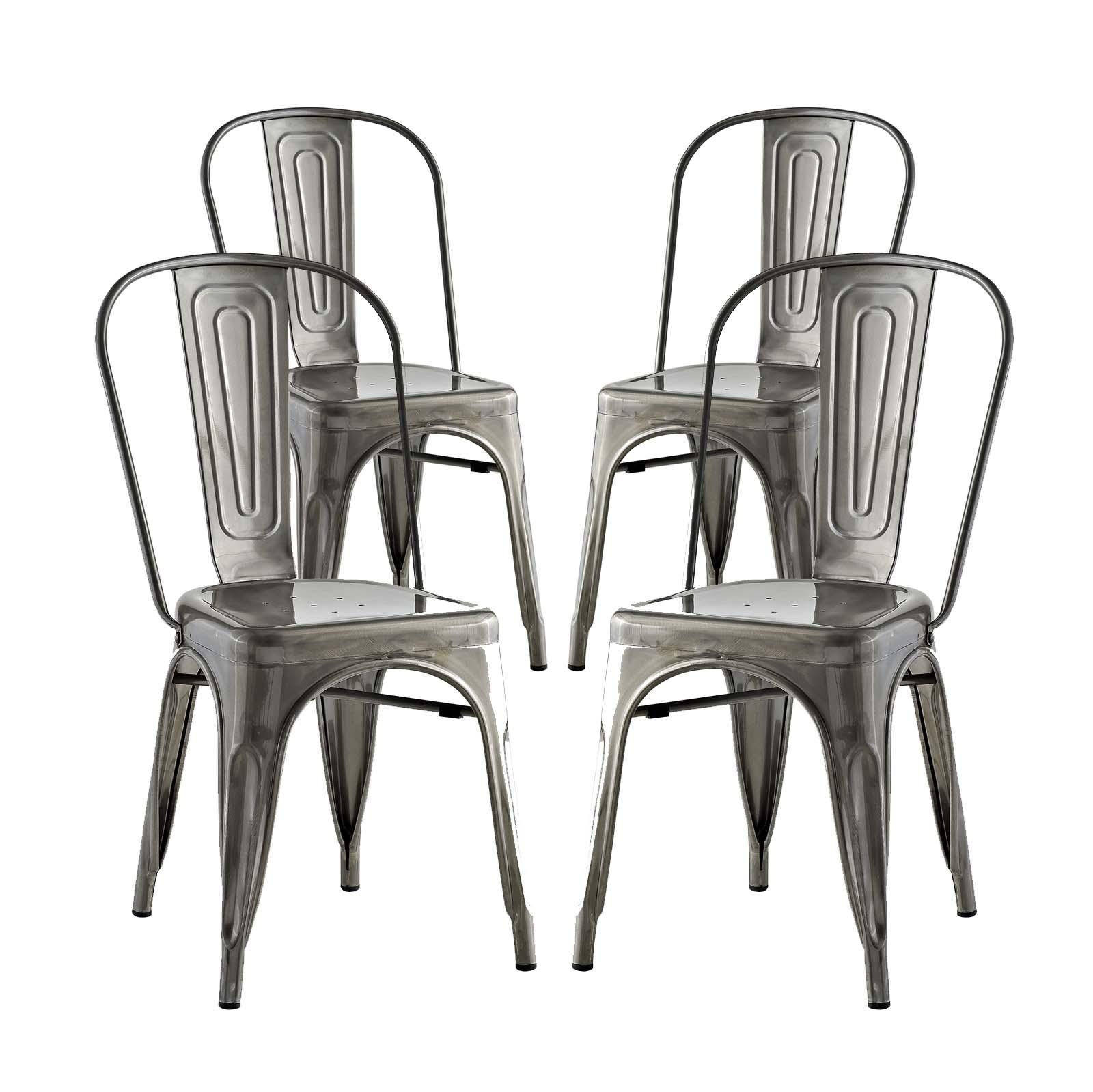Promenade Dining Side Chair Set of 4 in Gunmetal