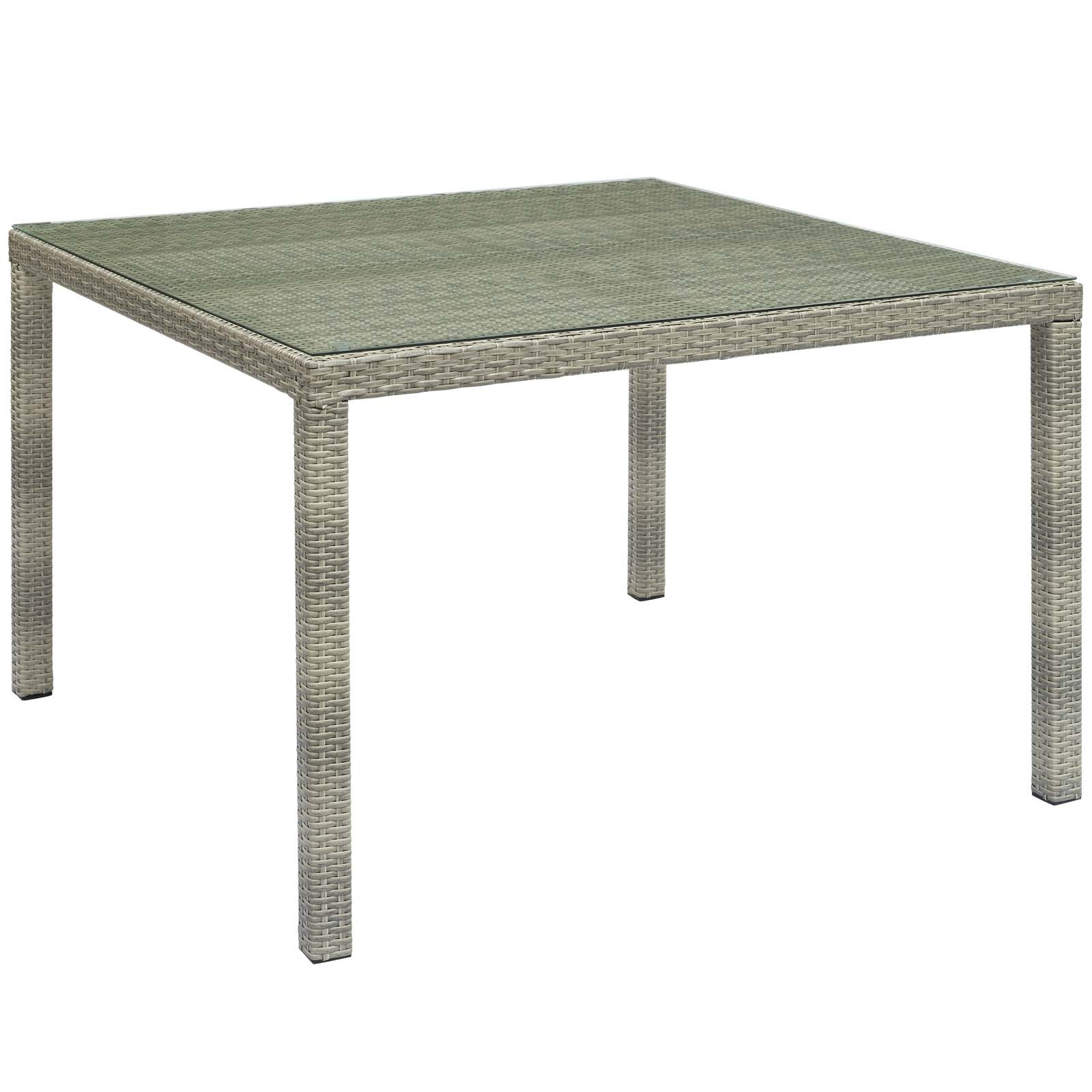 "Conduit 47"" Square Outdoor Patio Wicker Rattan Table in Light Gray"