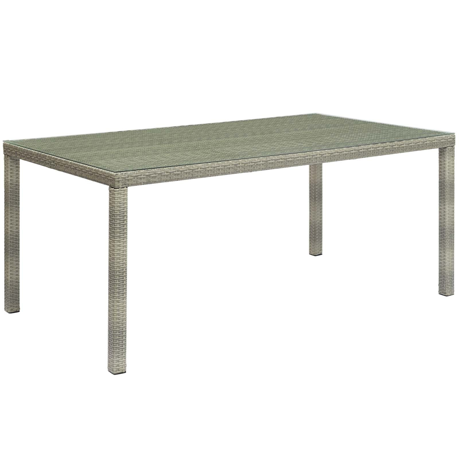 "Conduit 70"" Outdoor Patio Wicker Rattan Dining Table in Light Gray"