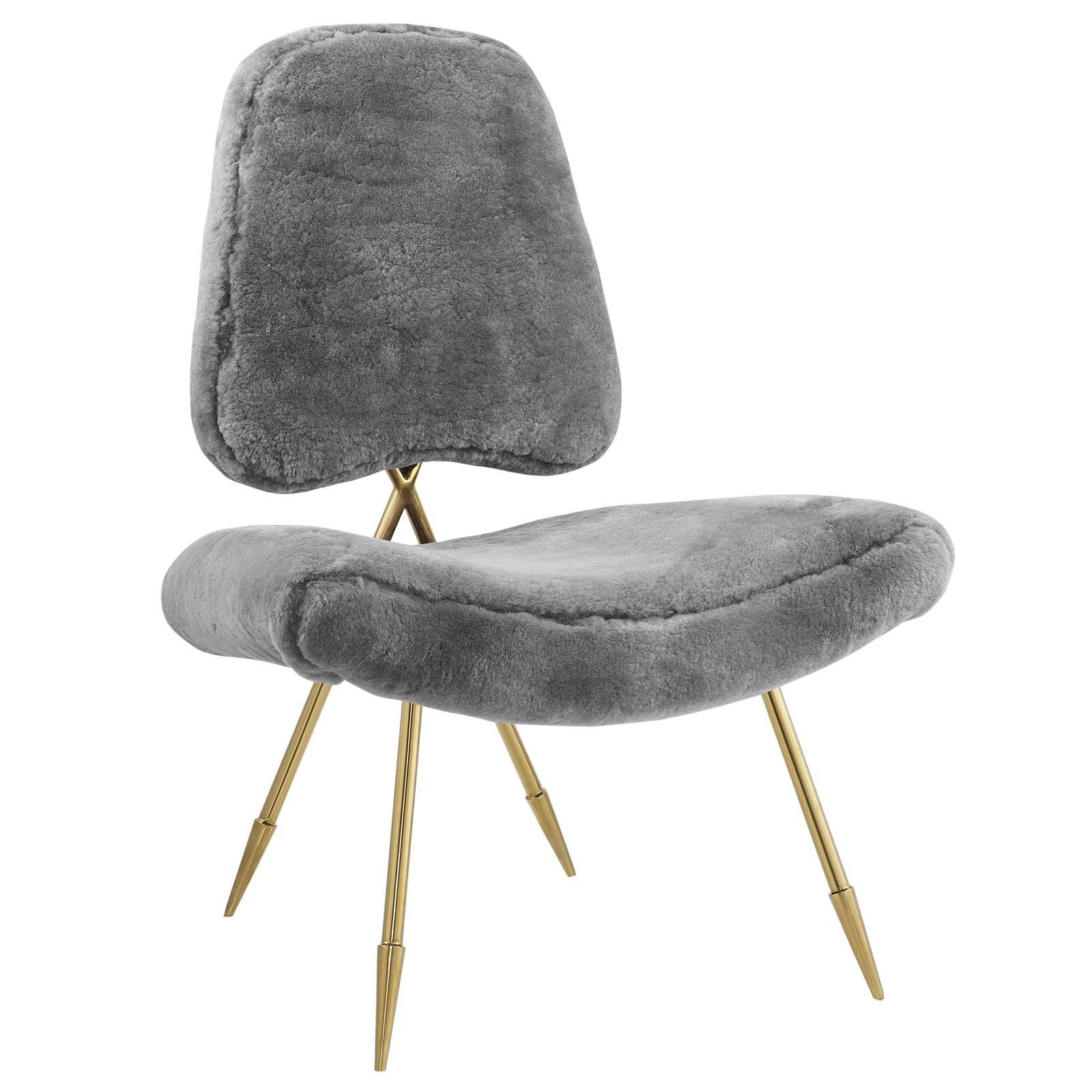 Ponder Upholstered Sheepskin Fur Lounge Chair