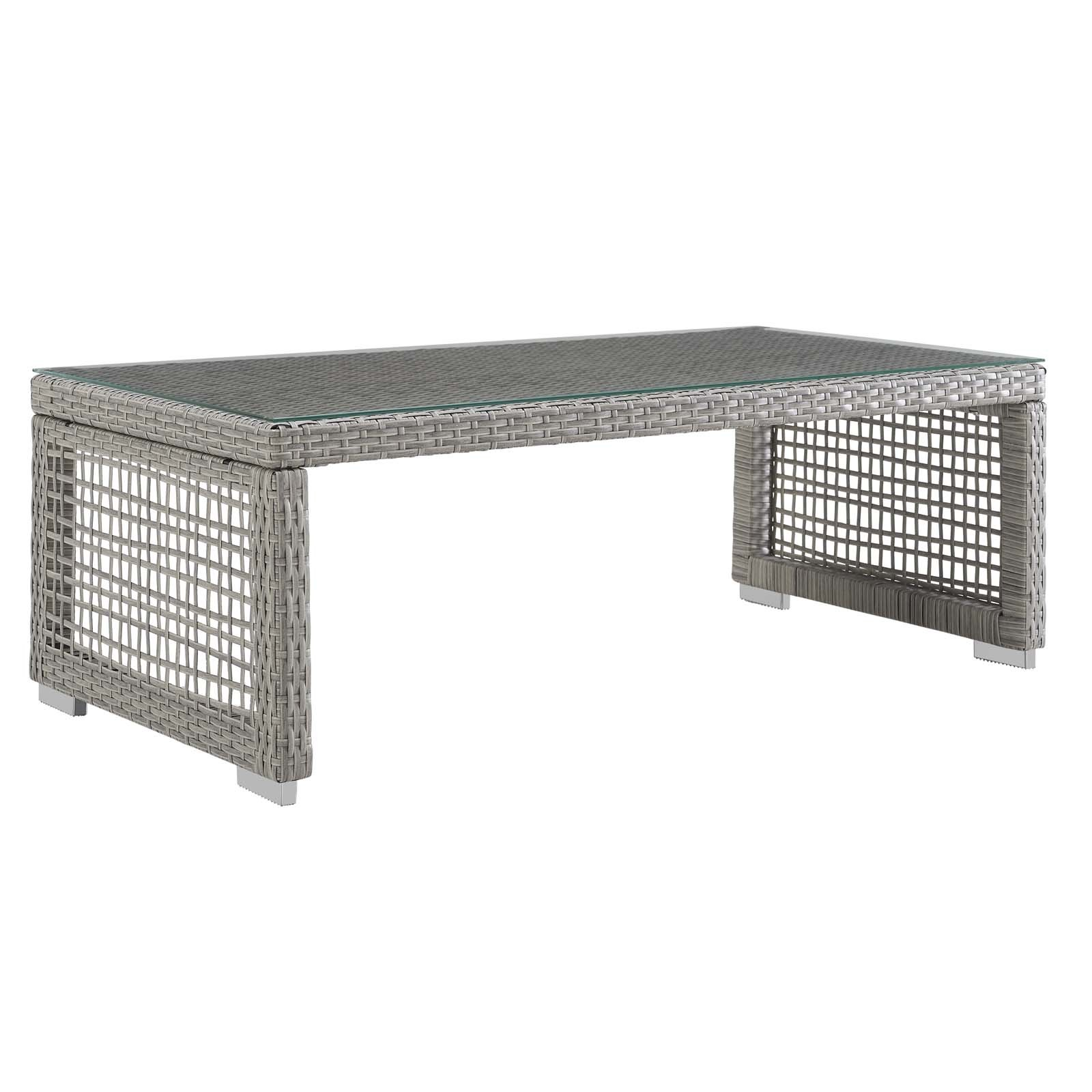 Aura Rattan Outdoor Patio Coffee Table in Gray