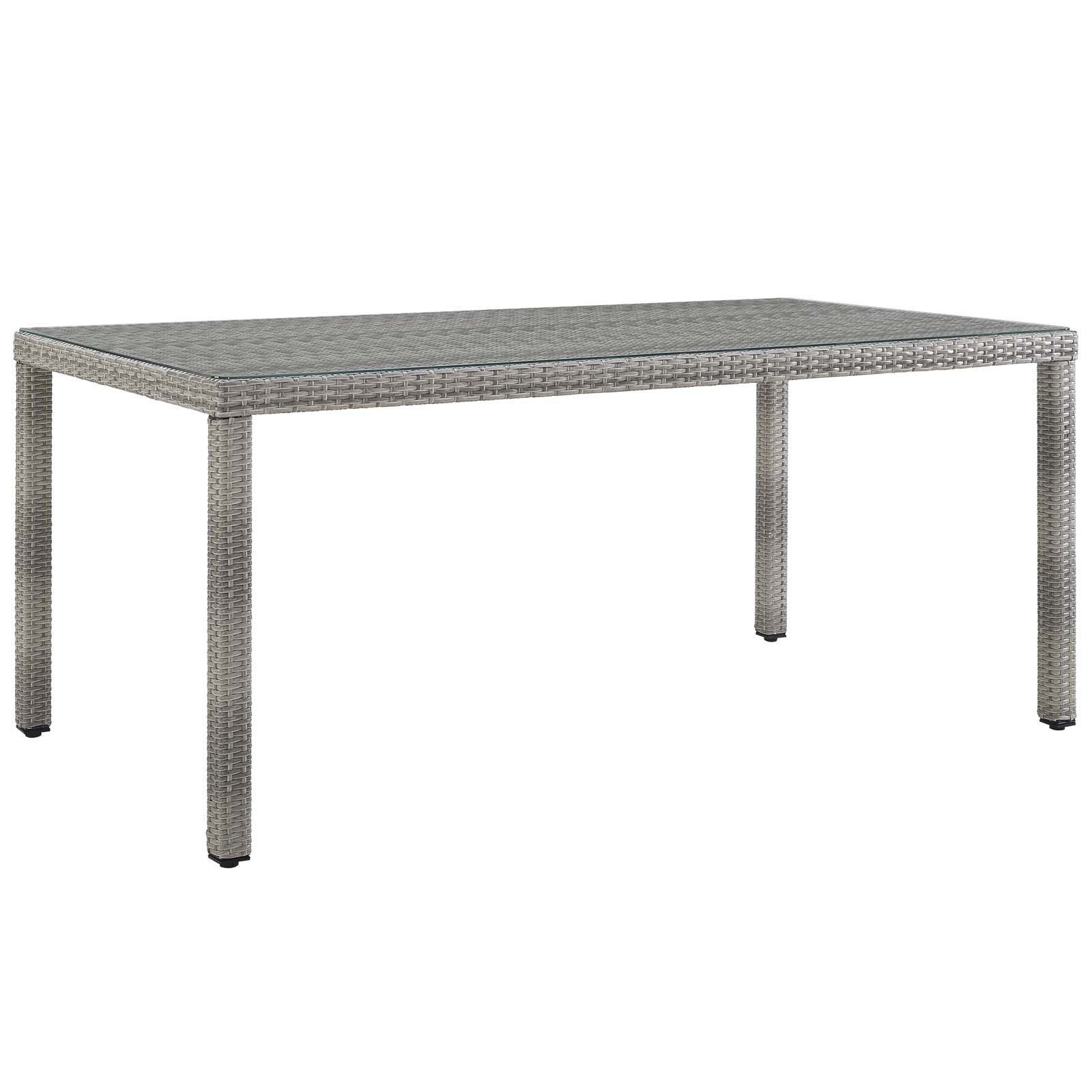 "Aura 68"" Outdoor Patio Wicker Rattan Dining Table in Gray"
