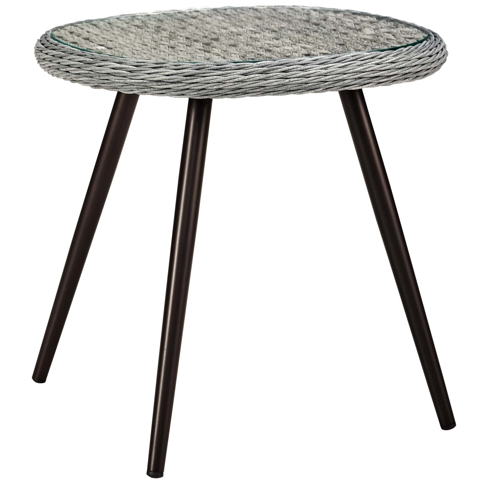 Endeavor Outdoor Patio Wicker Rattan Side Table in Gray