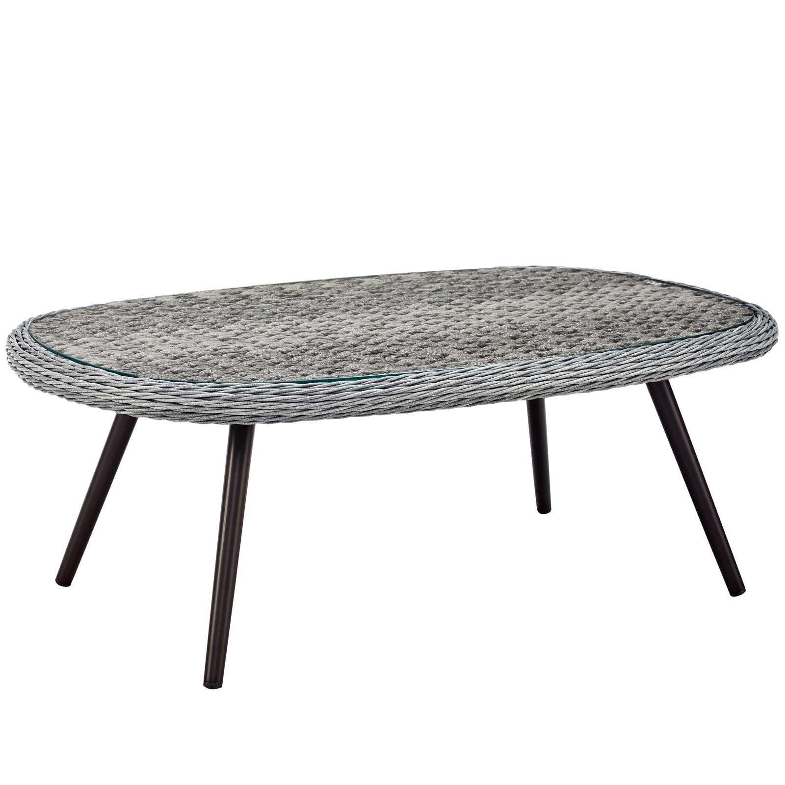 Endeavor Outdoor Patio Wicker Rattan Coffee Table in Gray