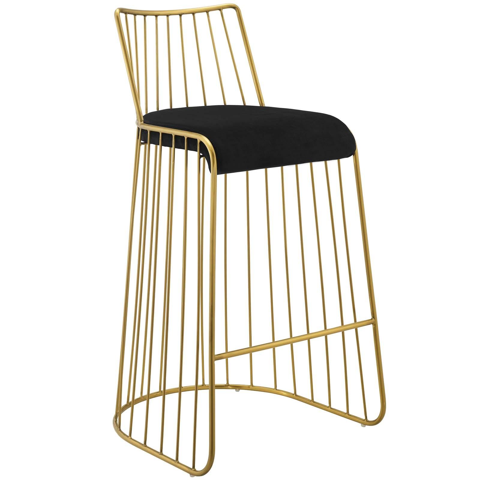 Rivulet Gold Stainless Steel Upholstered Velvet Bar Stool