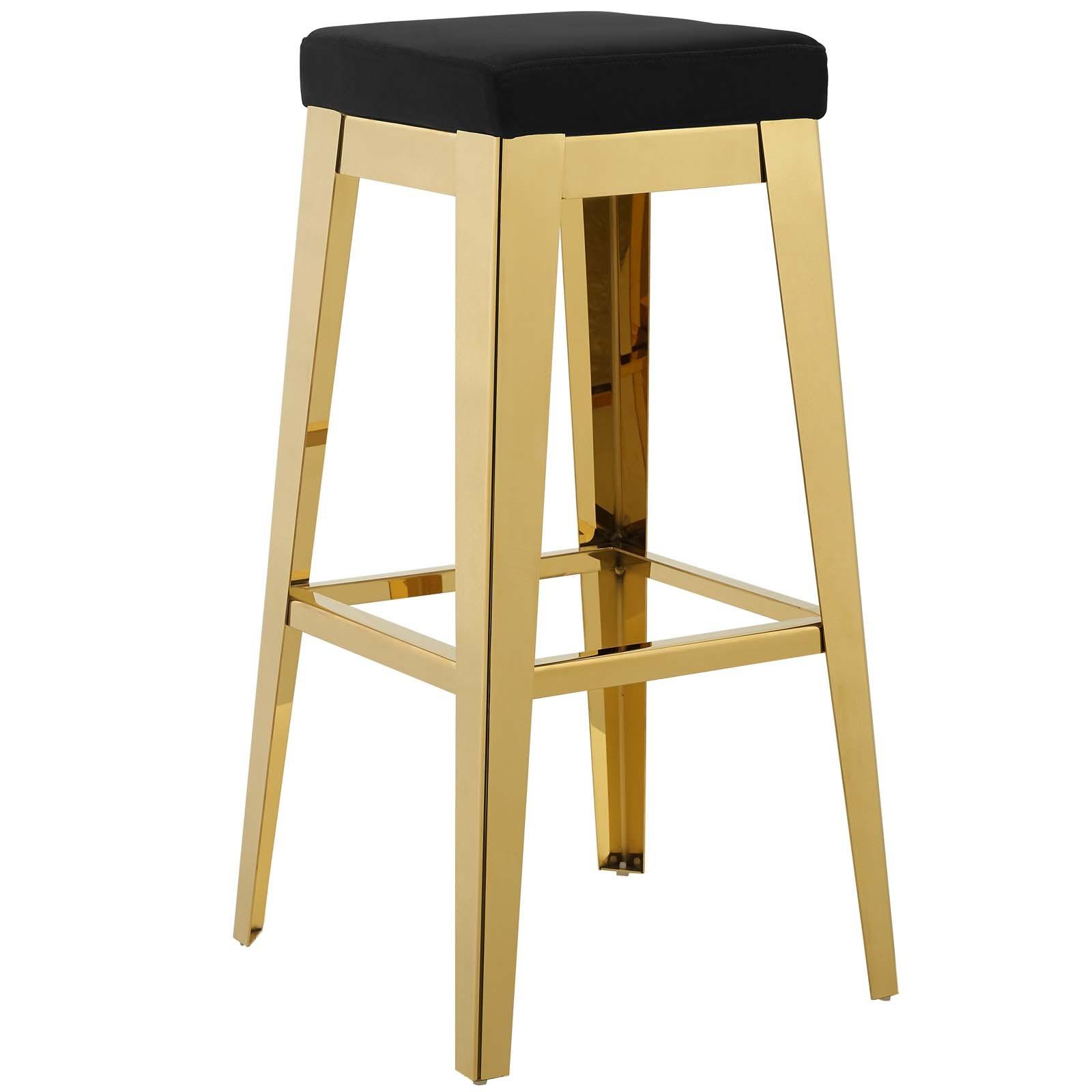 Arrive Gold Stainless Steel Upholstered Velvet Bar Stool