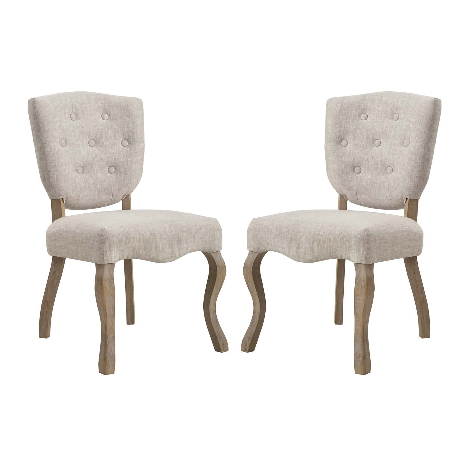 Array Dining Side Chair Set of 2 with Soft Polyester Upholstery