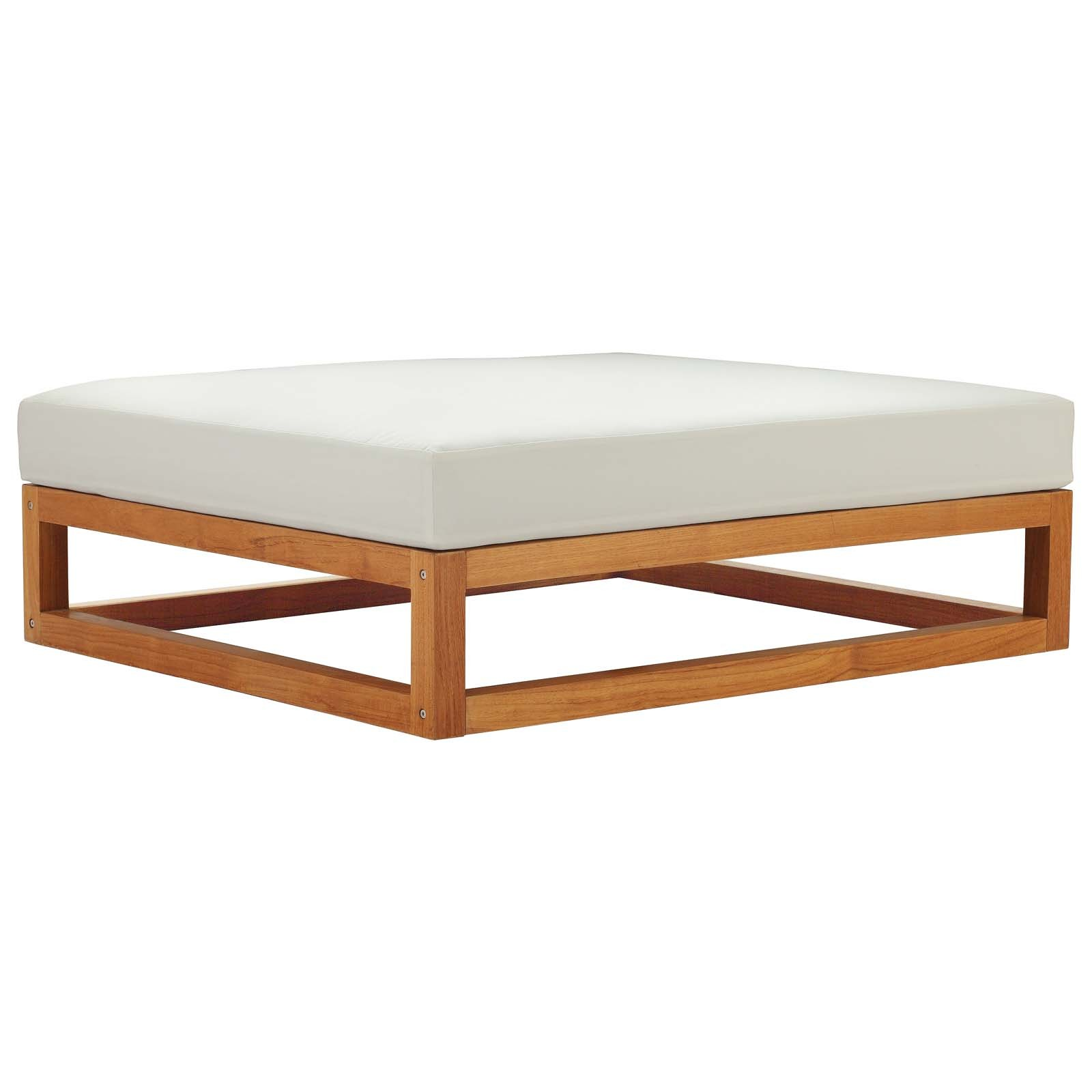 Newbury Outdoor Patio Premium Grade A Teak Wood Ottoman in Natural White