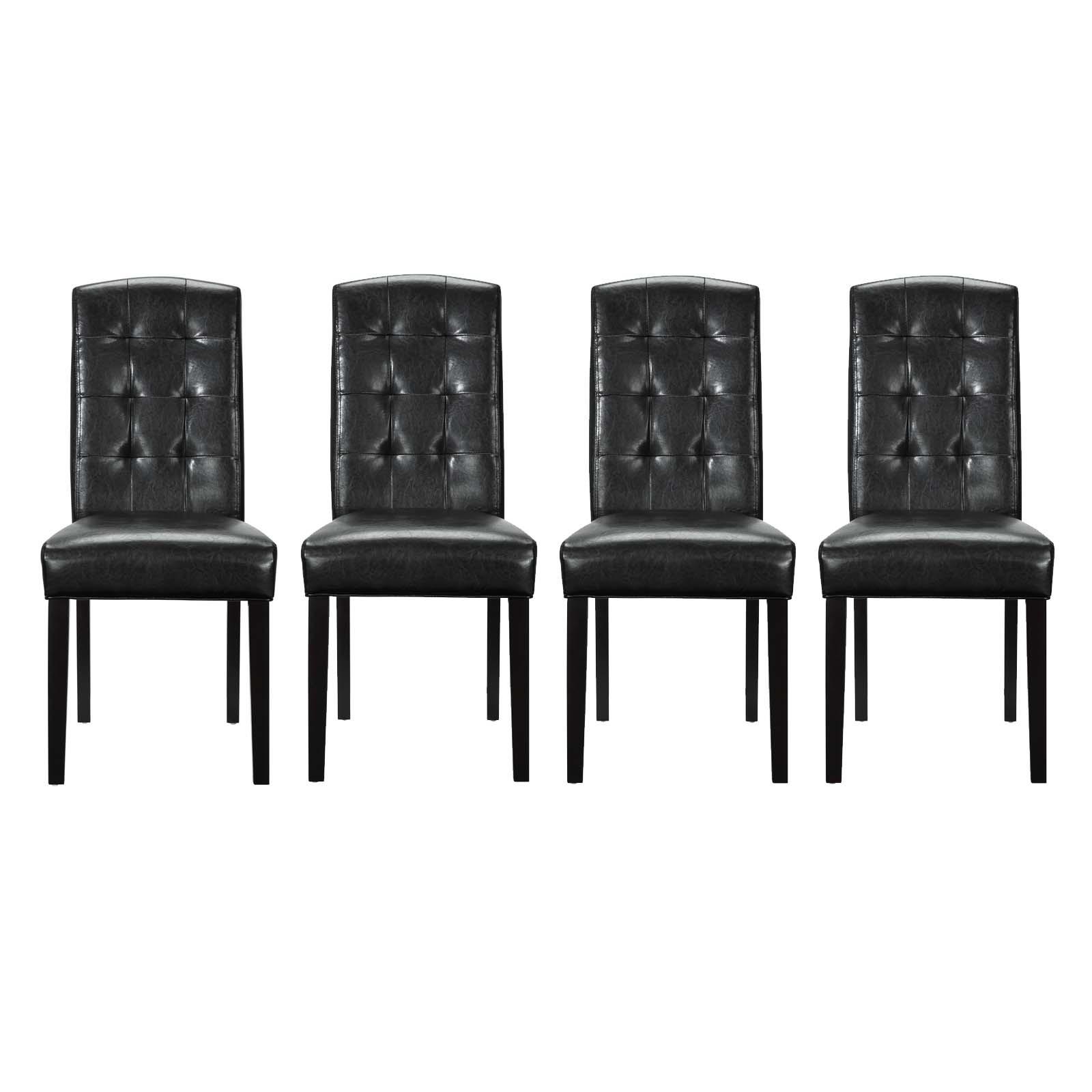 Perdure Dining Chairs Vinyl Set of 4 in Black