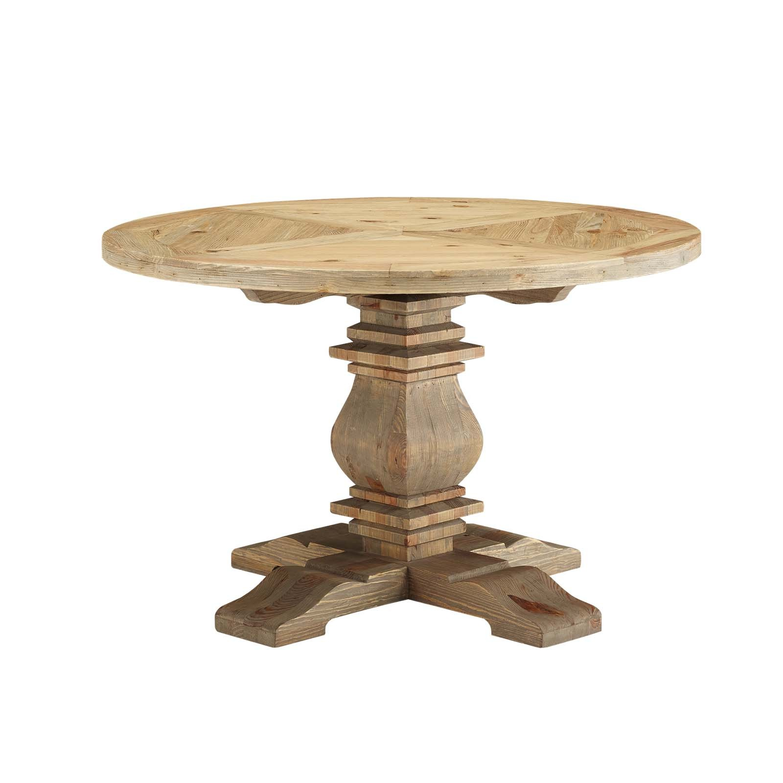 "Column 47"" Round Pine Wood Dining Table in Brown"