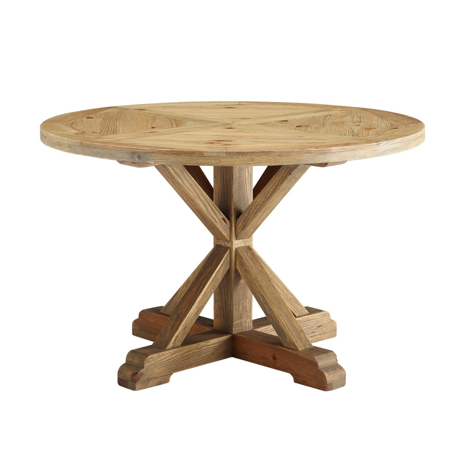 "Stitch 47"" Round Pine Wood Dining Table in Brown"