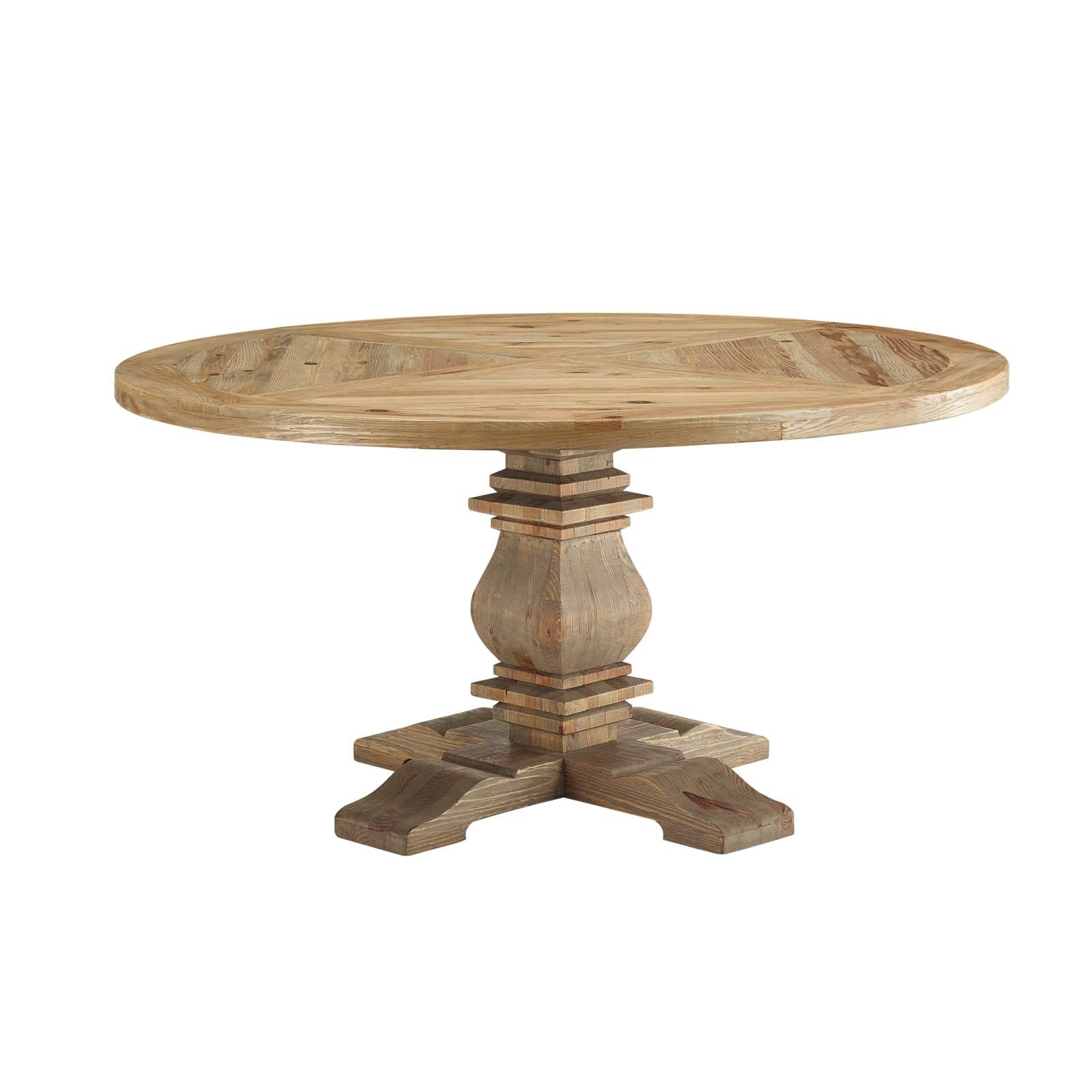 "Column 59"" Round Pine Wood Dining Table in Brown"