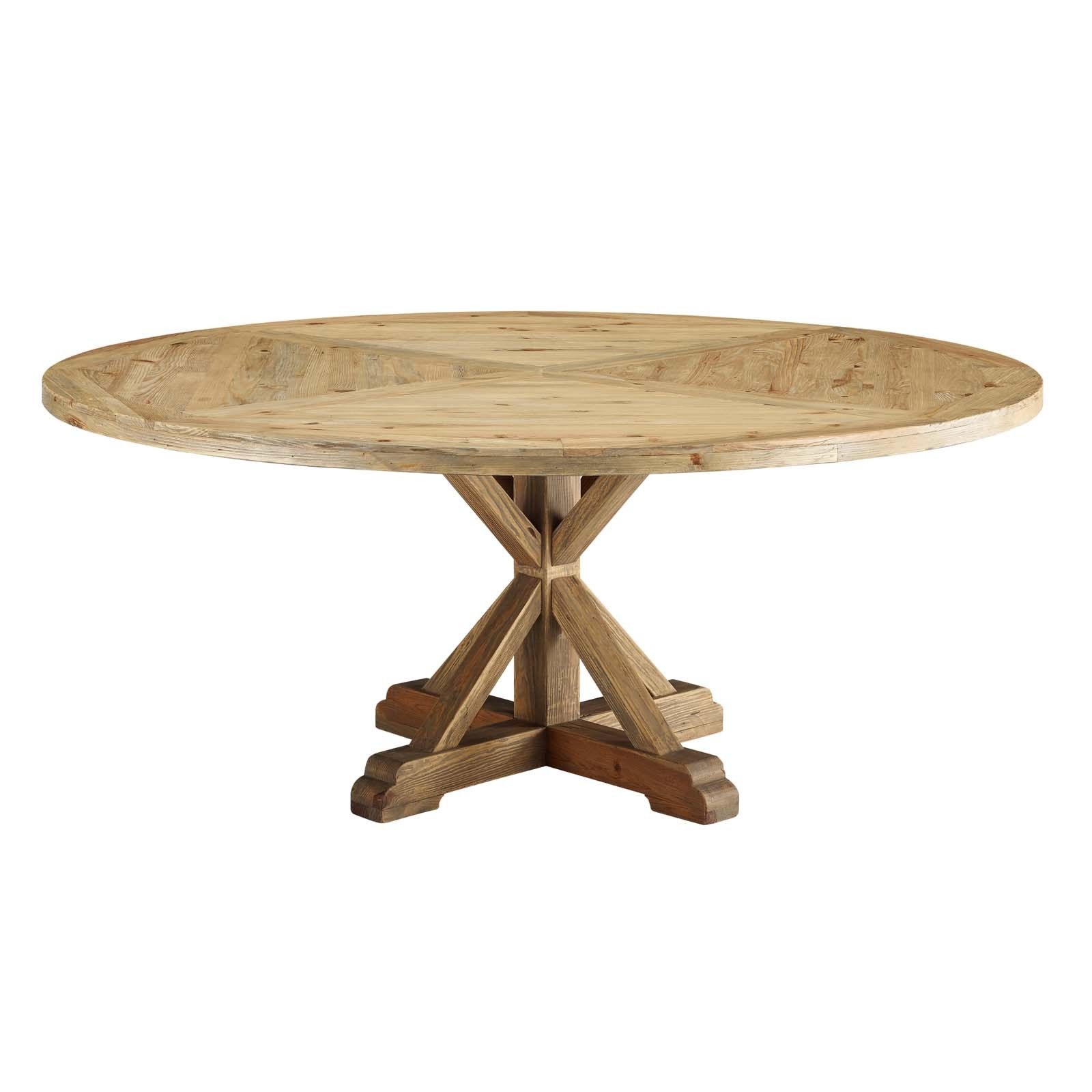 "Stitch 71"" Round Pine Wood Dining Table in Brown"