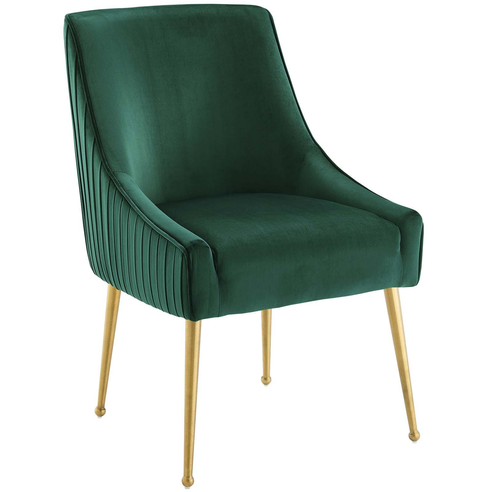 Discern Pleated Back Upholstered Performance Velvet Dining Chair