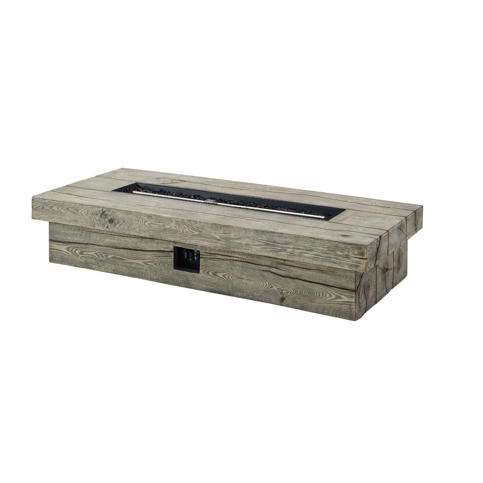 Manteo 70 Inch Rectangular Outdoor Patio Fire Pit Table in Light Gray