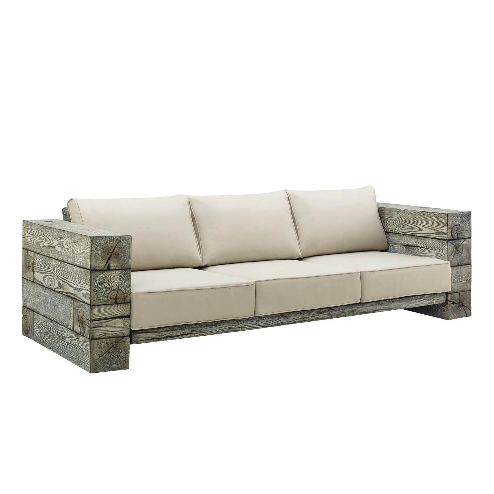 Manteo Rustic Coastal Outdoor Patio Sofa in Light Gray Beige