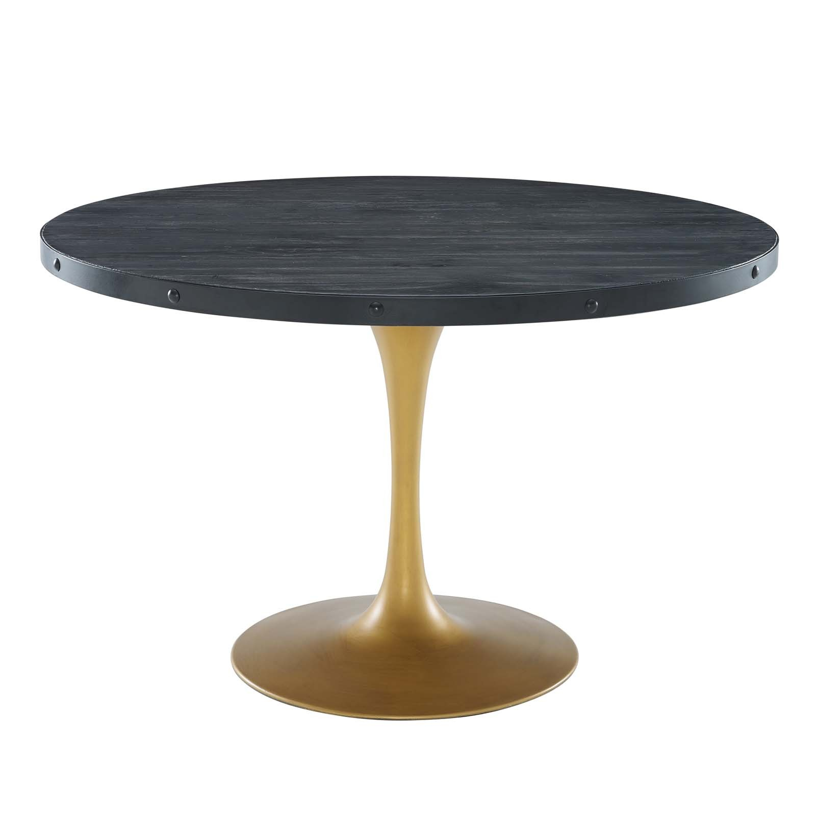 "Drive 48"" Round Wood Top Dining Table in Black Gold"