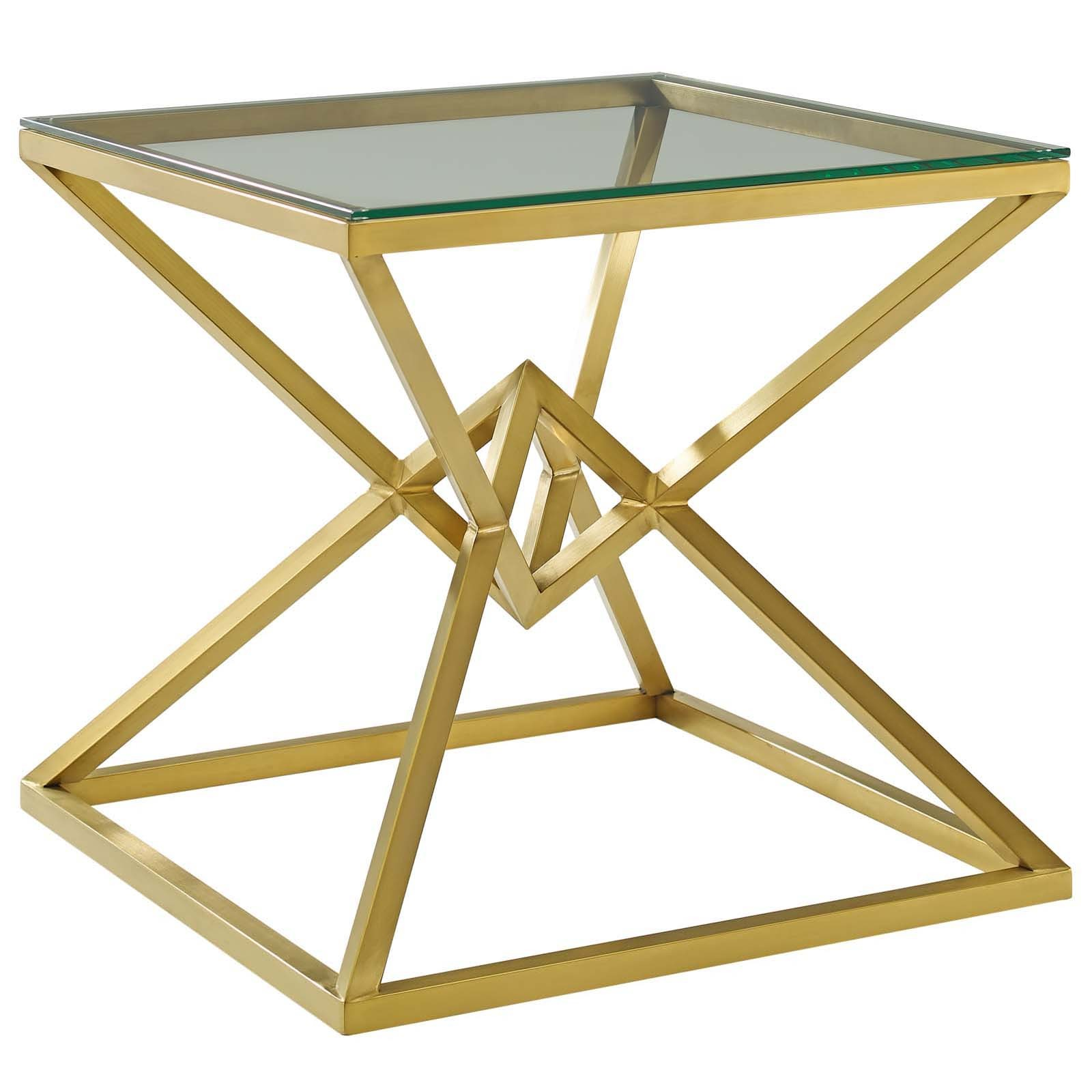 "Point 25.5"" Brushed Gold Metal Stainless Steel Side Table in Gold"